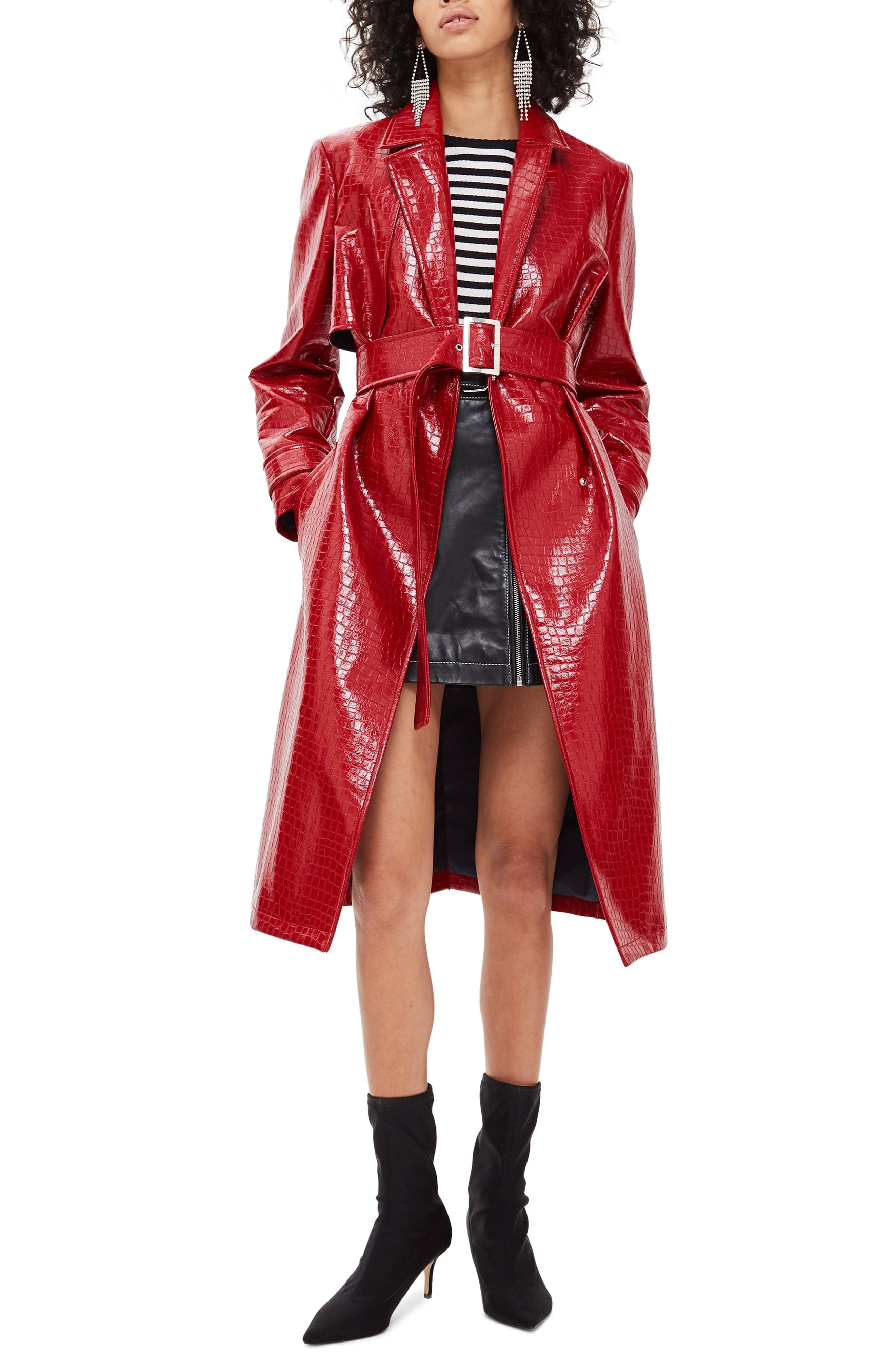 TOPSHOP Croc-Embossed Trench Coat, Main, color, RED
