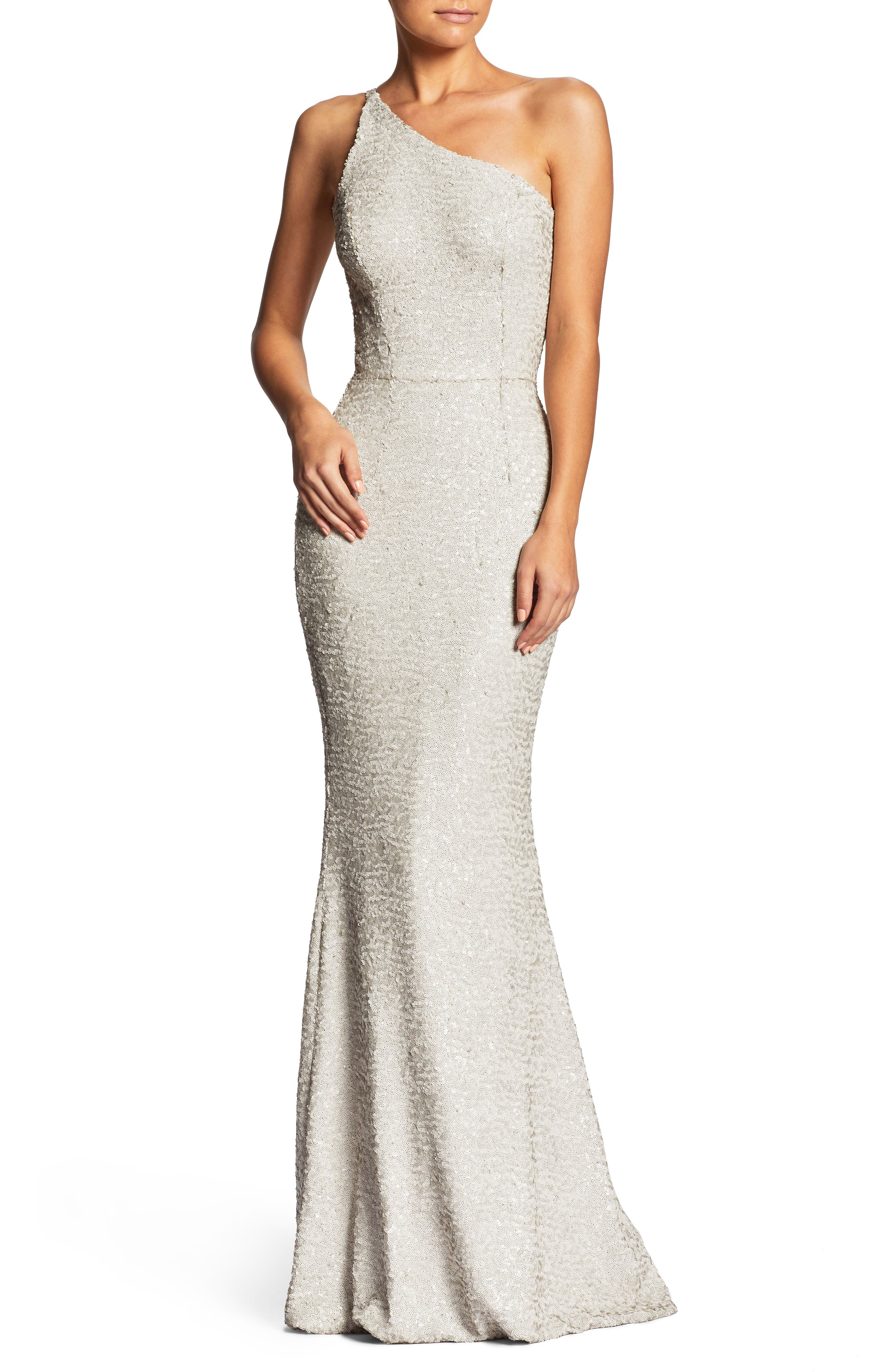 DRESS THE POPULATION, Bella One-Shoulder Mermaid Gown, Main thumbnail 1, color, 020