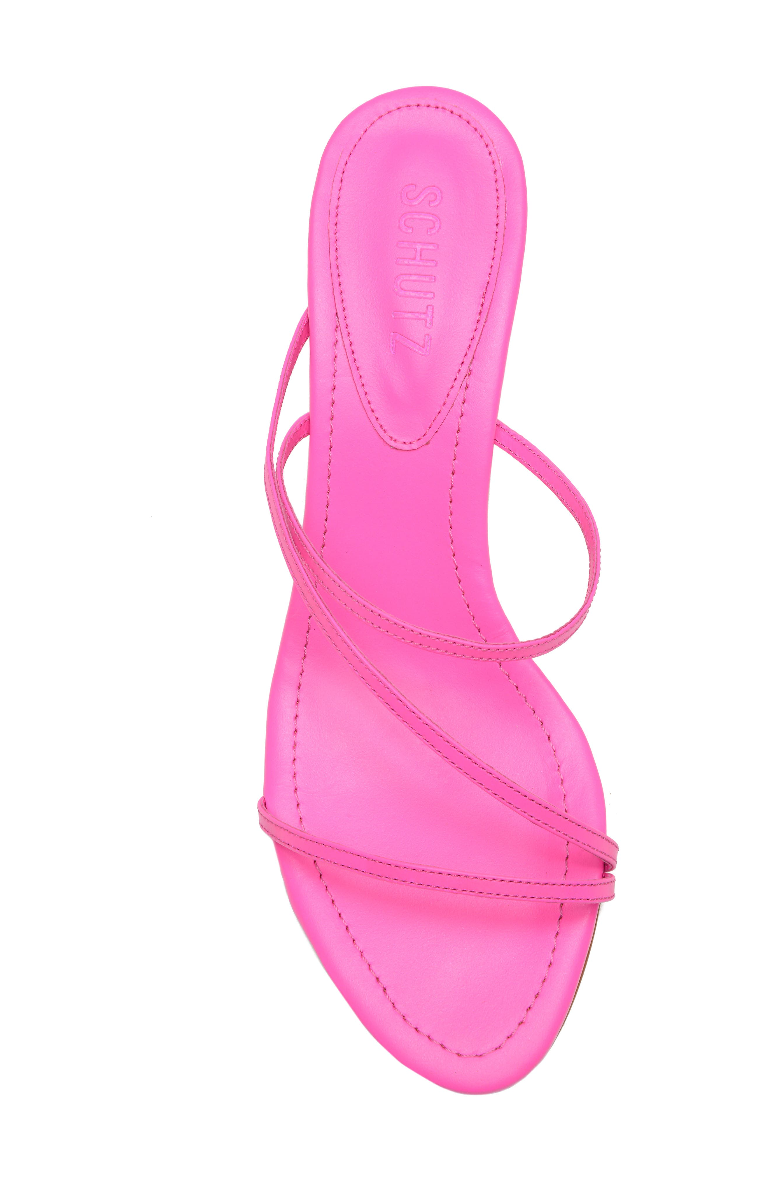SCHUTZ, Evenise Slide Sandal, Alternate thumbnail 5, color, NEON PINK