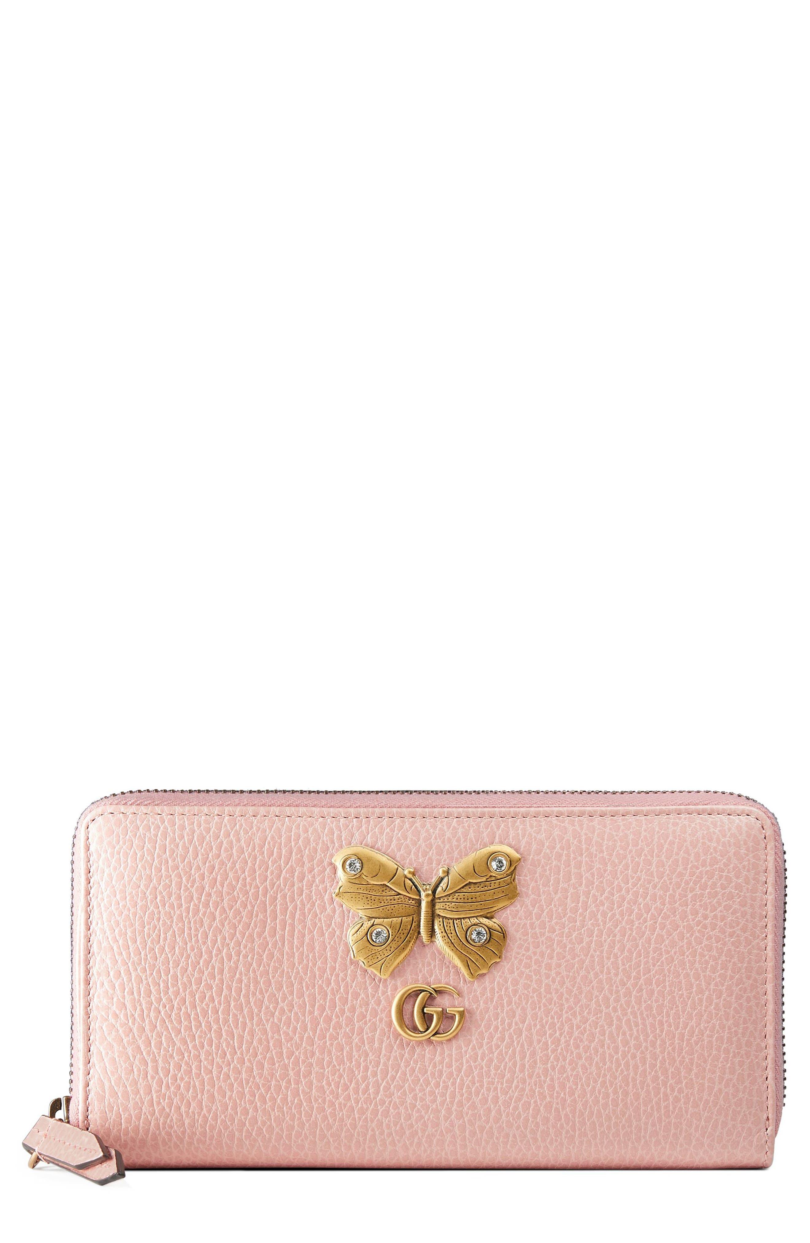 GUCCI, Farfalla Zip Around Leather Wallet, Main thumbnail 1, color, PERFECT PINK/ CRYSTAL