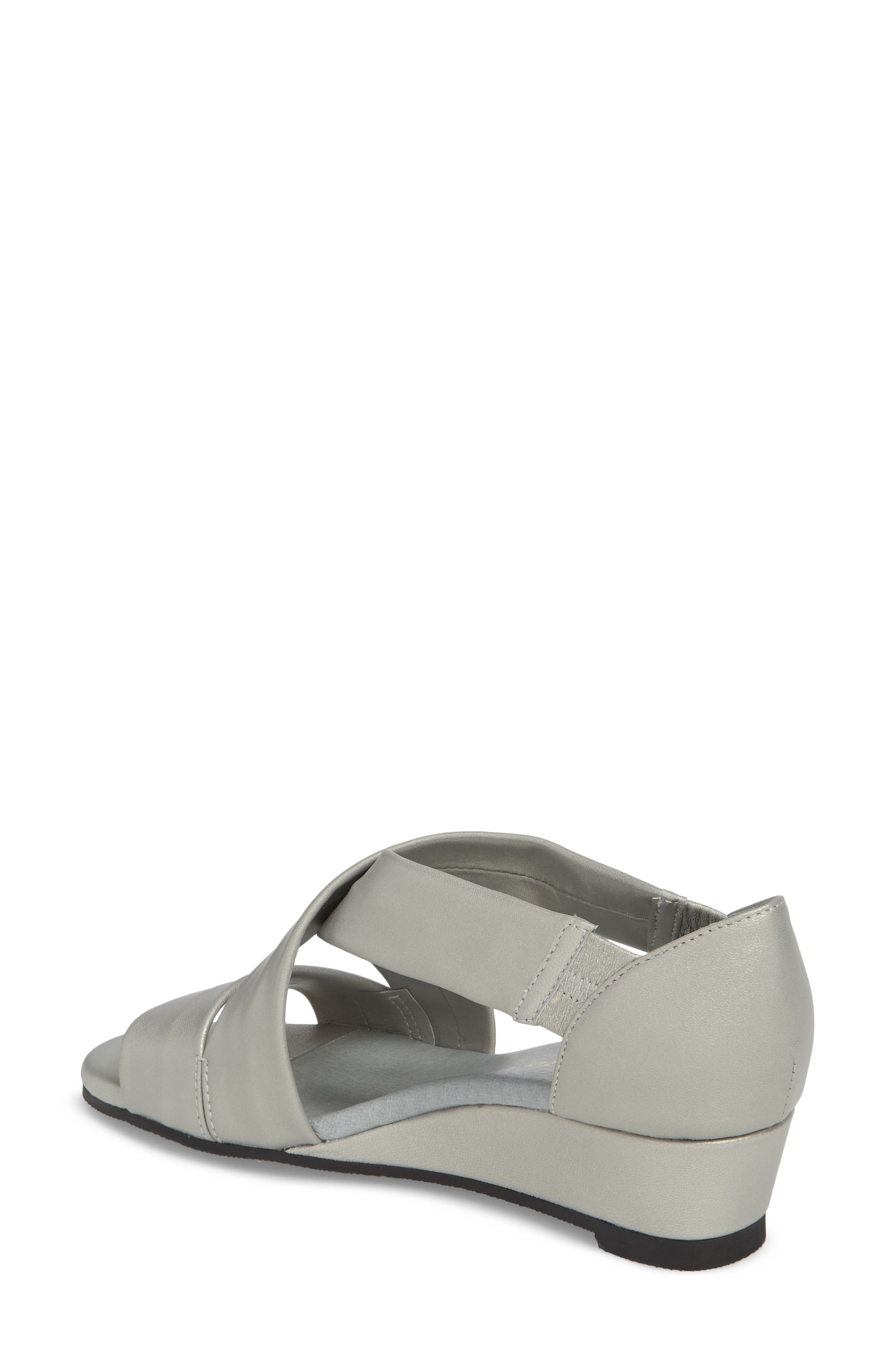 DAVID TATE, Swell Cross Strap Wedge Sandal, Alternate thumbnail 2, color, SILVER LEATHER