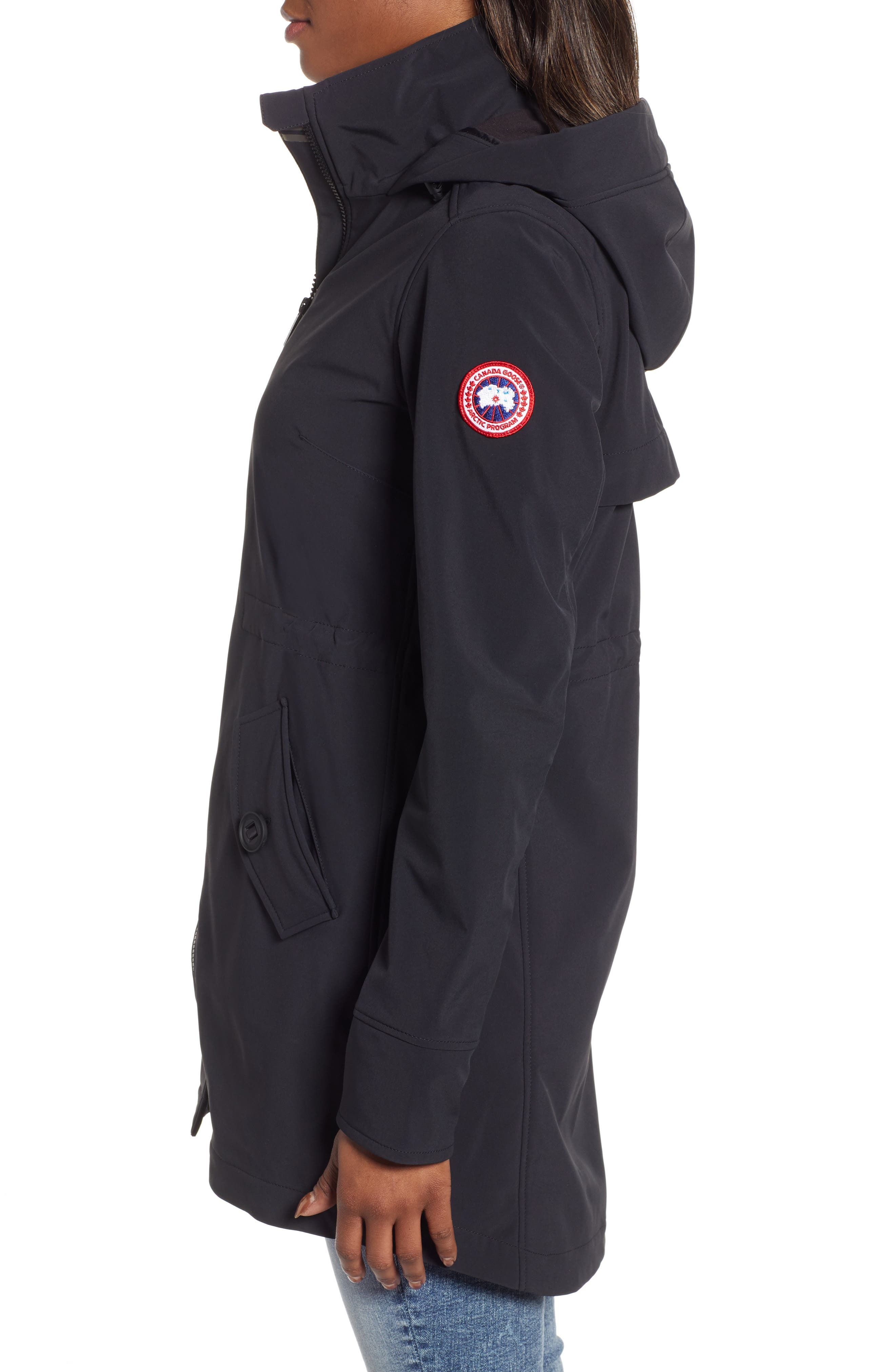 CANADA GOOSE, Avery Water Resistant Hooded Jacket, Alternate thumbnail 4, color, BLACK