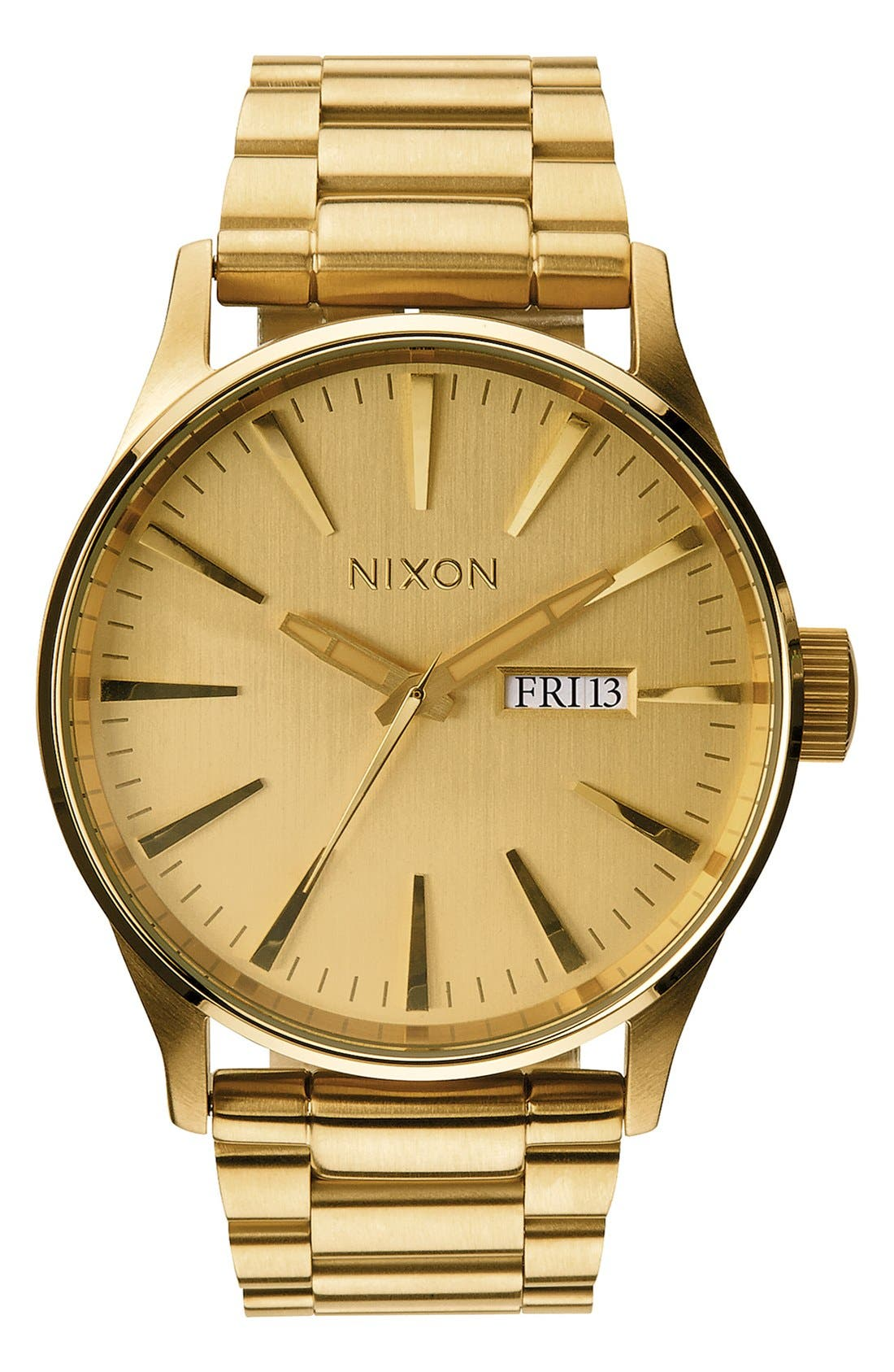 NIXON Sentry Bracelet Watch, 42mm, Main, color, GOLD