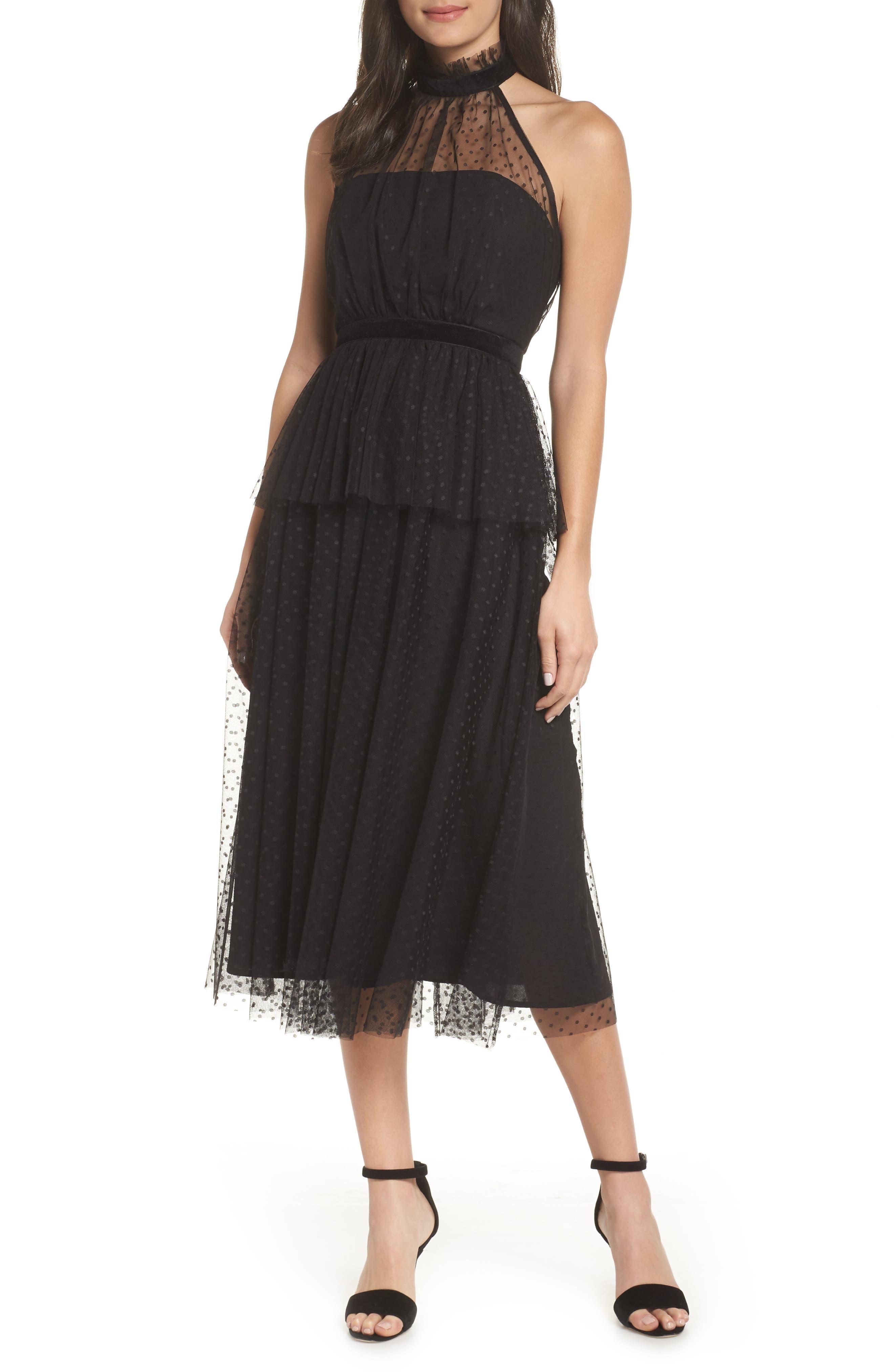 AVEC LES FILLES, Tiered Tulle Dress, Main thumbnail 1, color, BLACK