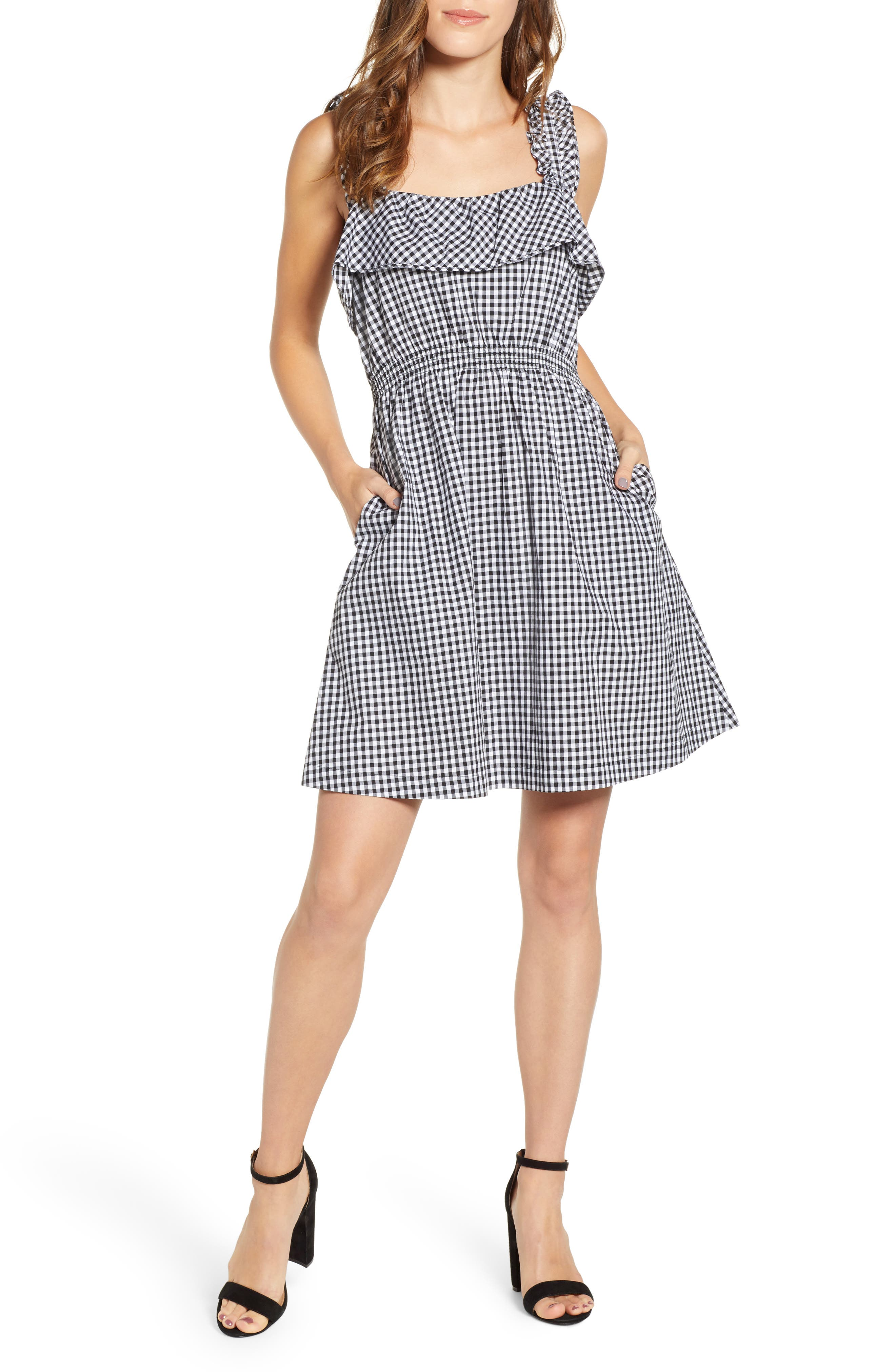 7 FOR ALL MANKIND<SUP>®</SUP>, Gingham Ruffle Dress, Main thumbnail 1, color, 005