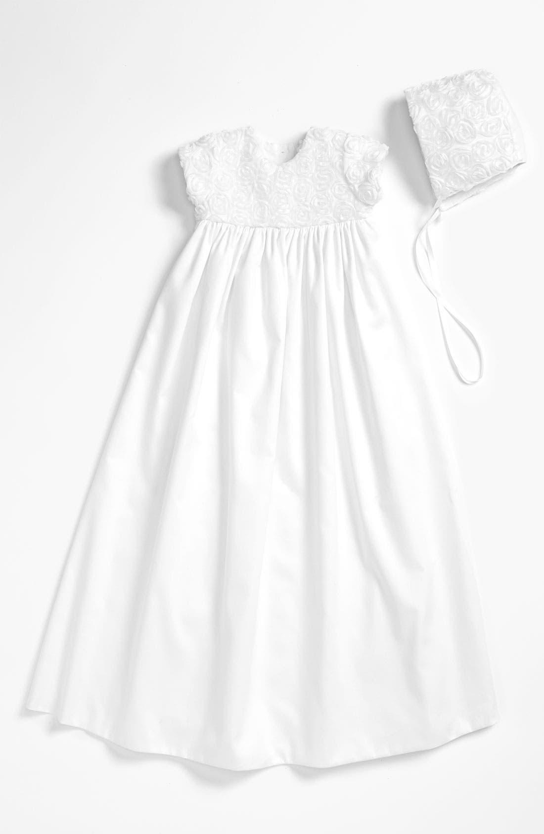 LITTLE THINGS MEAN A LOT Rosette Gown & Bonnet, Main, color, WHITE
