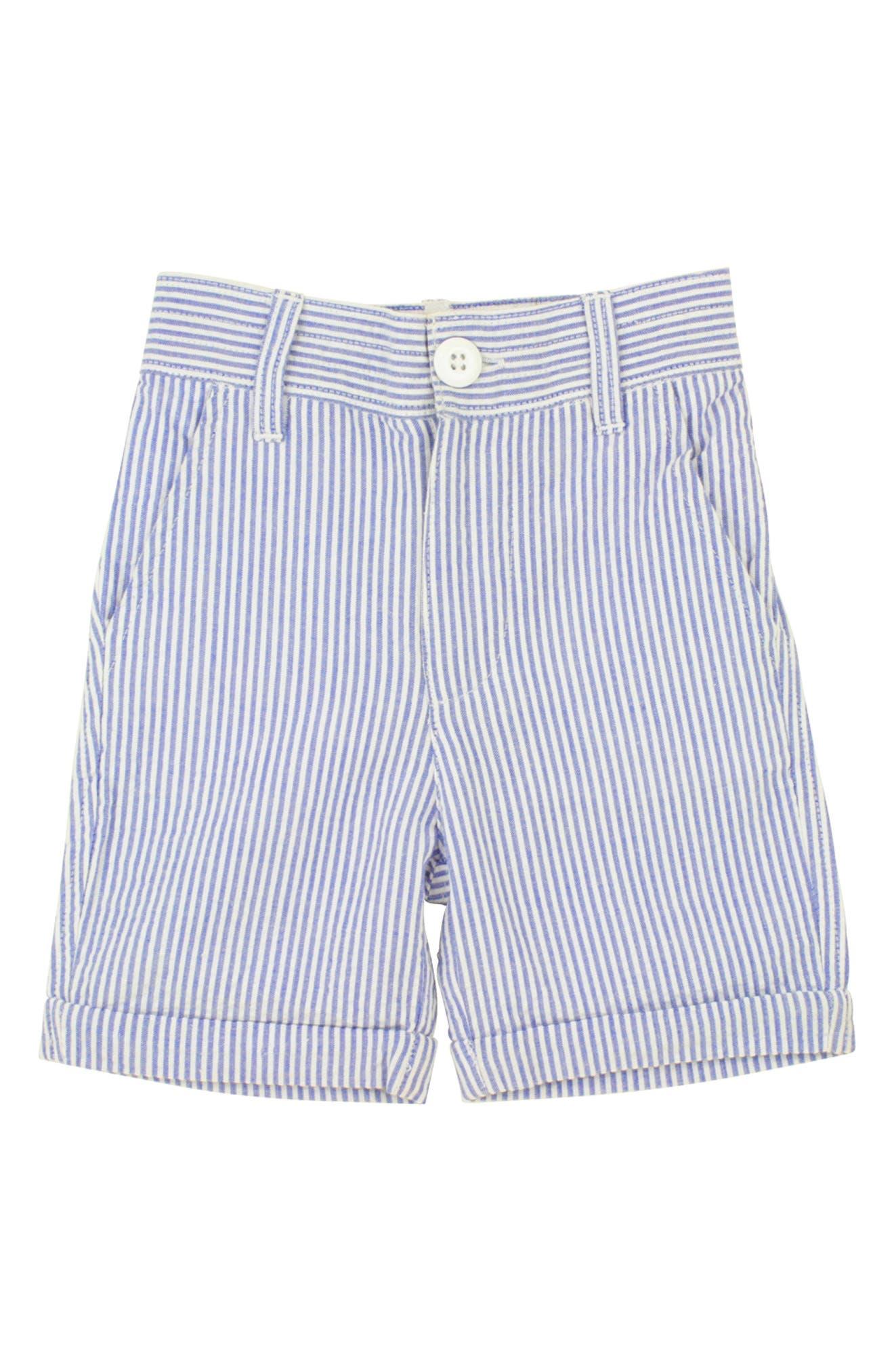 RUGGEDBUTTS, Seersucker Vest & Shorts Set, Alternate thumbnail 2, color, BLUE