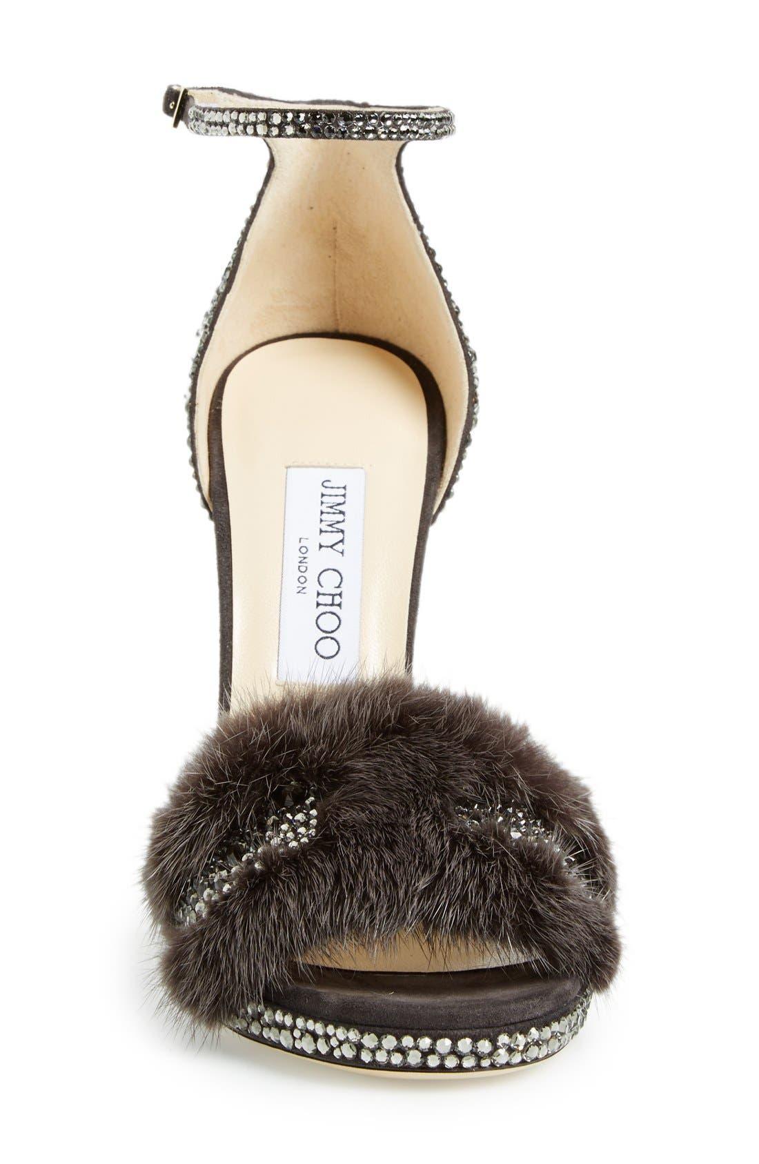JIMMY CHOO, 'Kaylee' Genuine Mink Fur Sandal, Alternate thumbnail 2, color, 025