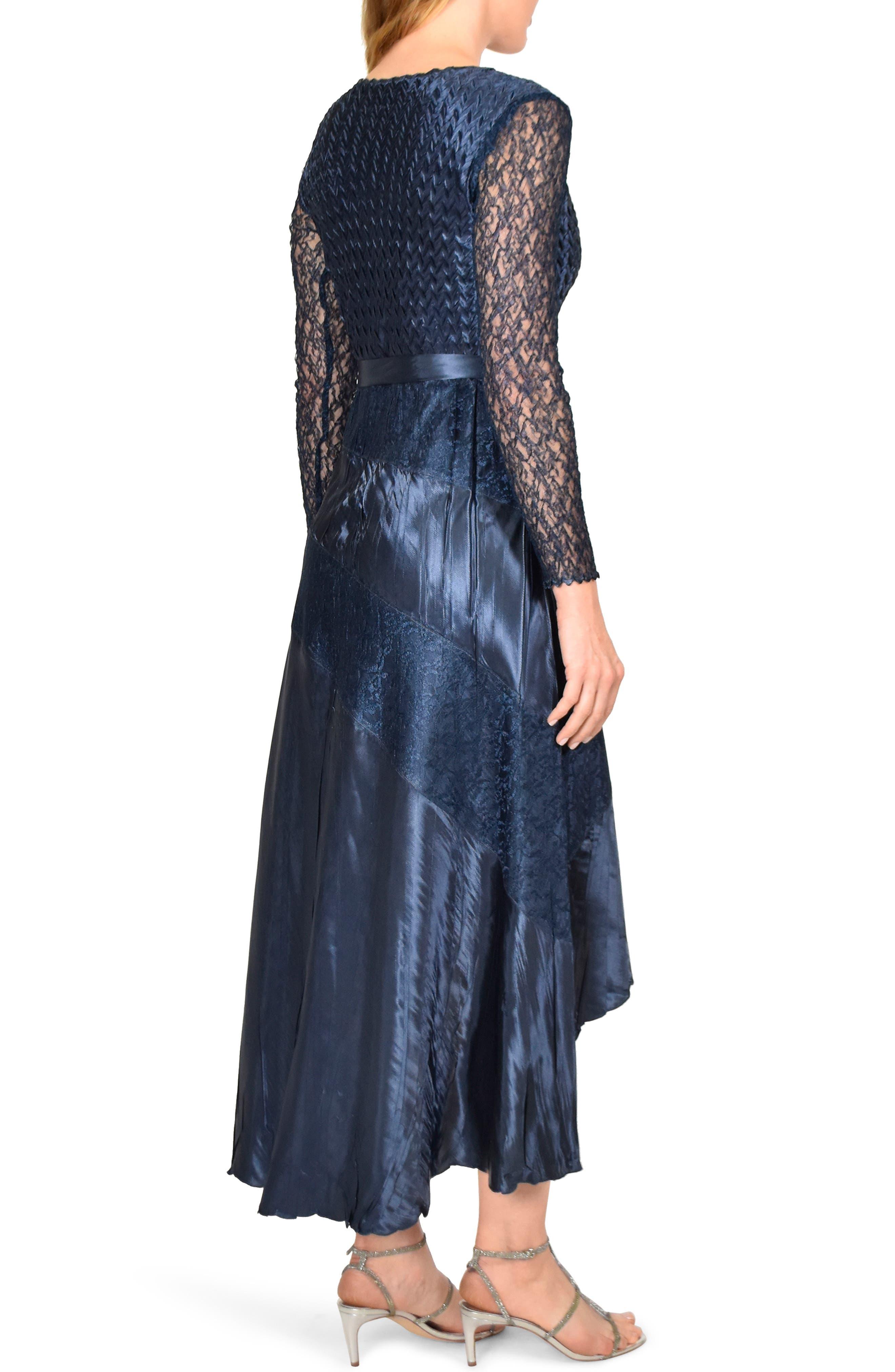 KOMAROV, Charmeuse & Chiffon High/Low Hem Dress, Alternate thumbnail 2, color, ECLIPSE