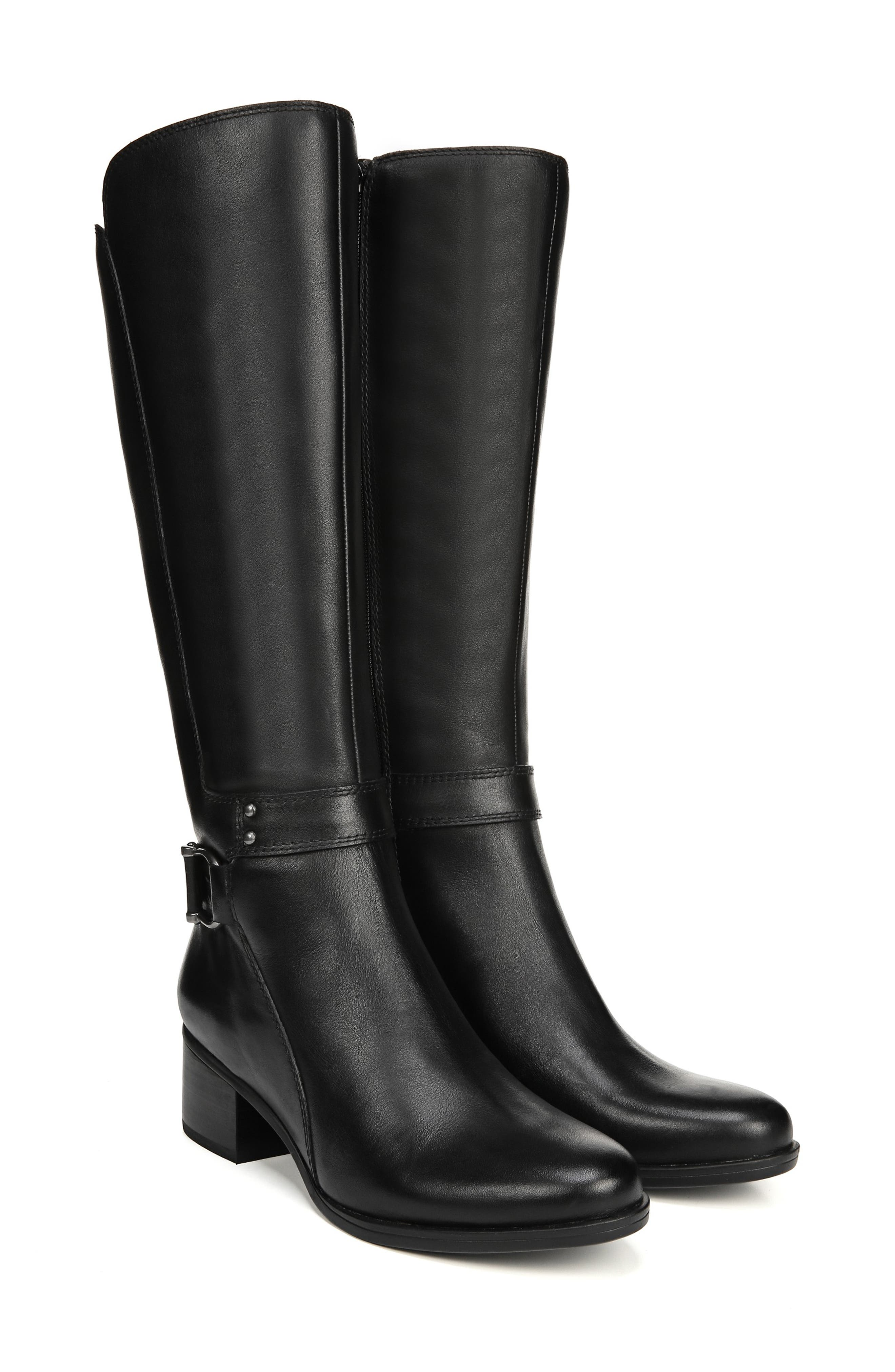 NATURALIZER, Dane Knee High Riding Boot, Alternate thumbnail 8, color, BLACK LEATHER