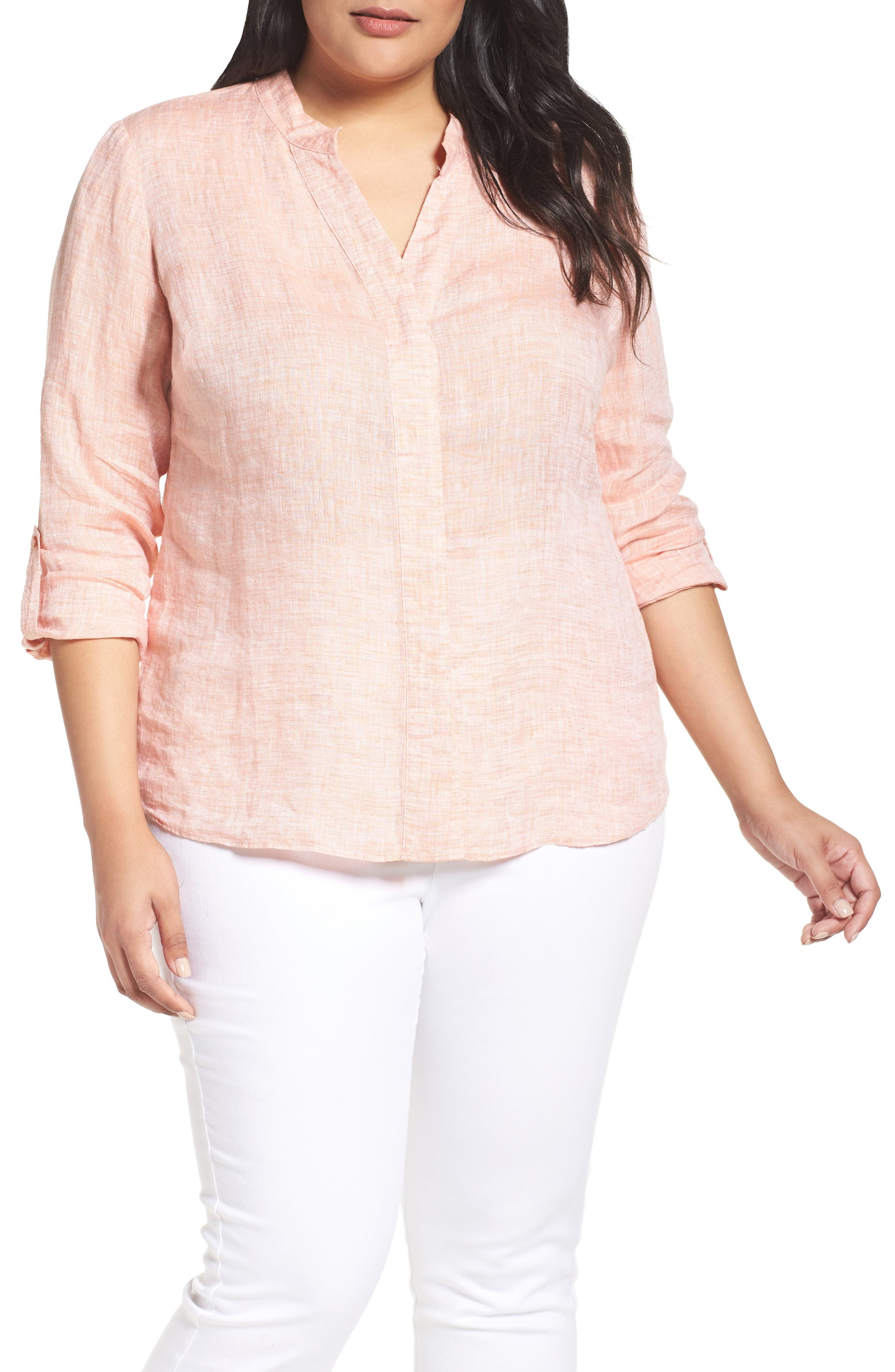 NIC+ZOE Drifty Woven Linen Shirt, Main, color, TANGERINE
