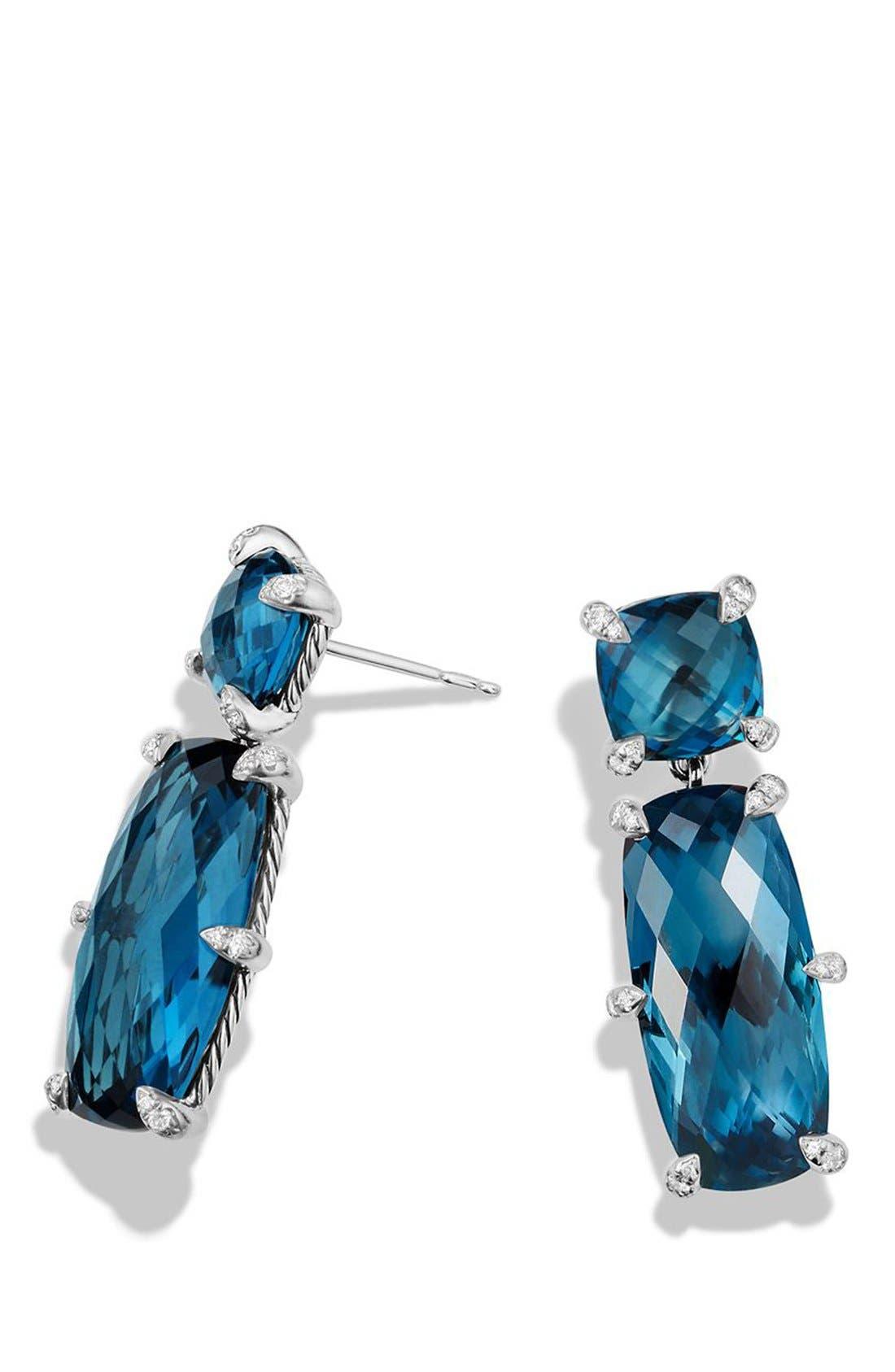 DAVID YURMAN, 'Châtelaine' Double Drop Earrings, Alternate thumbnail 3, color, SILVER/ HAMPTON BLUE TOPAZ