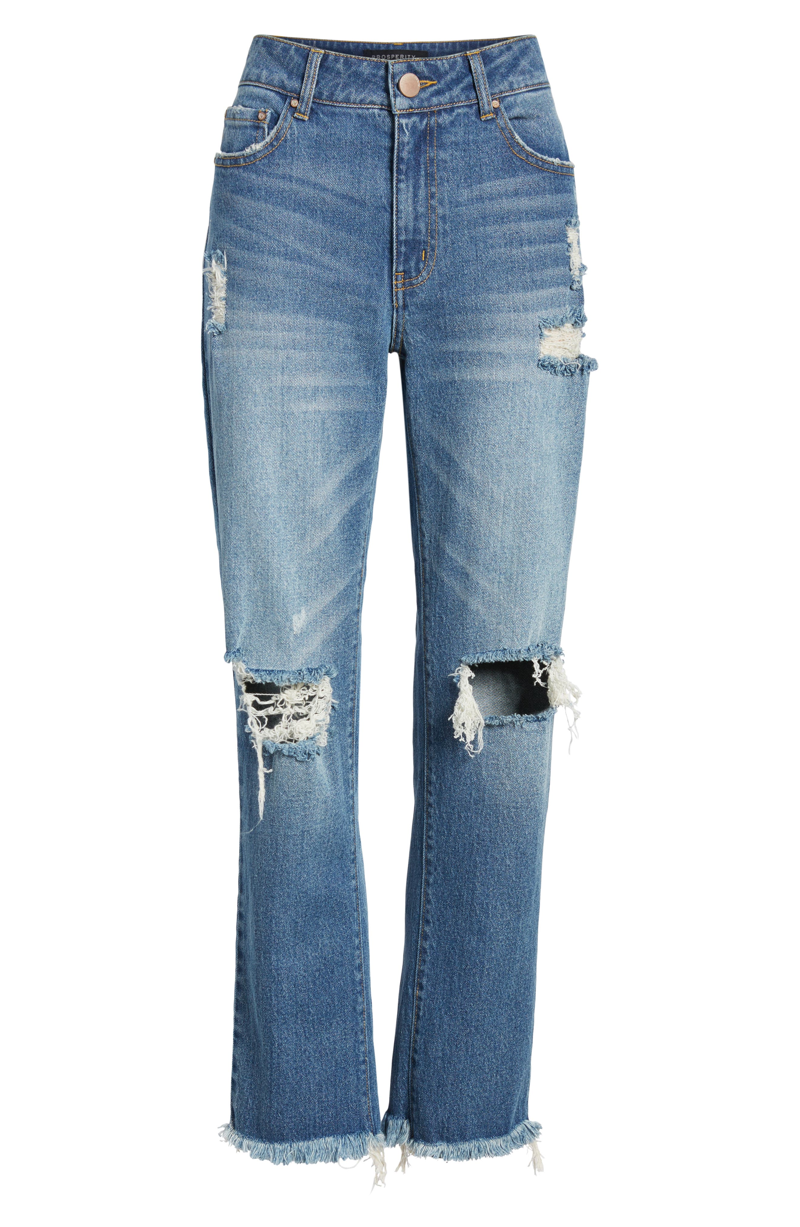 PROSPERITY DENIM, Ripped Ankle Straight Leg Jeans, Alternate thumbnail 7, color, VINTAGE WASH
