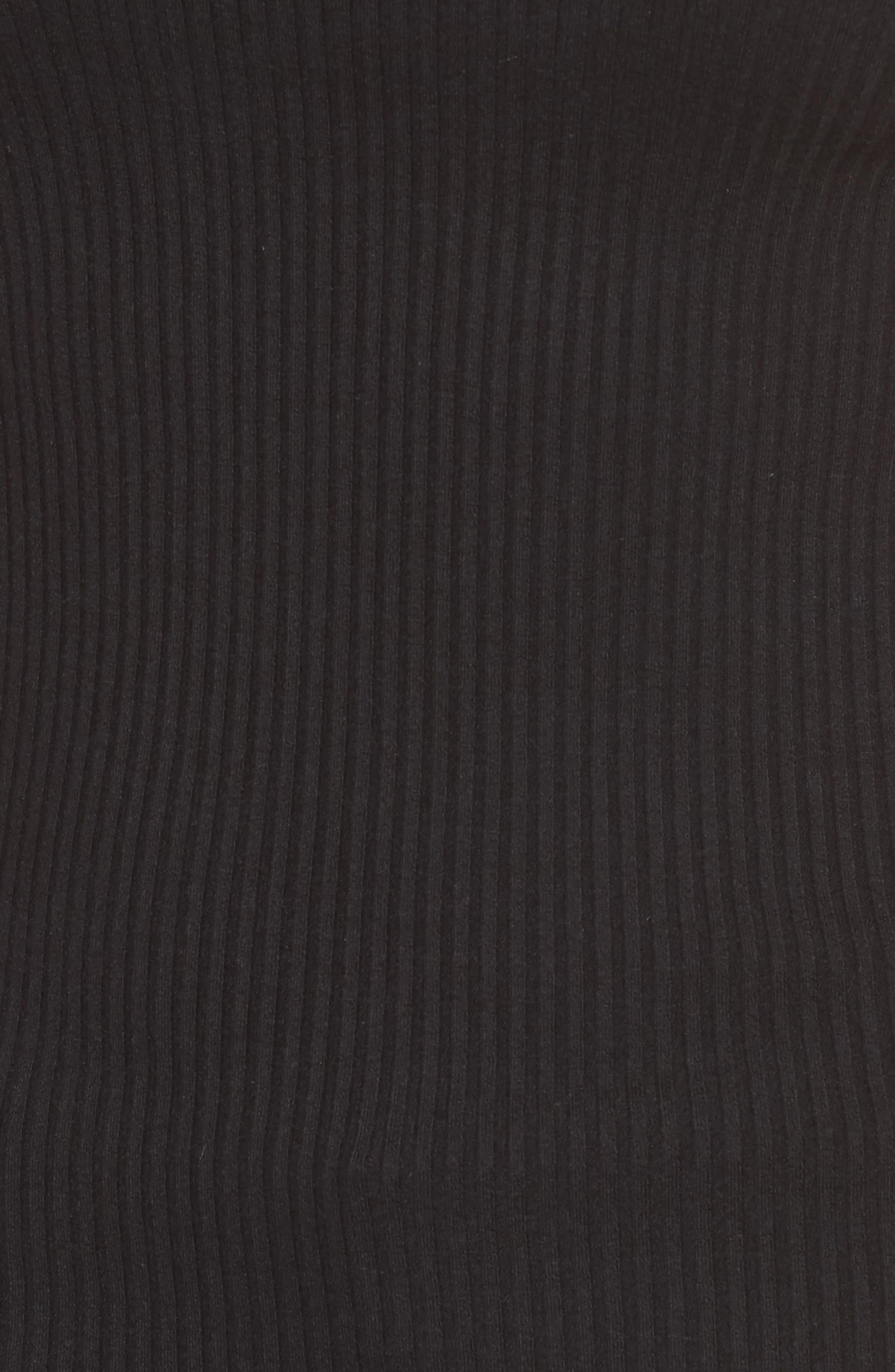 AMOUR VERT, Diana Ribbed Tee, Alternate thumbnail 5, color, BLACK