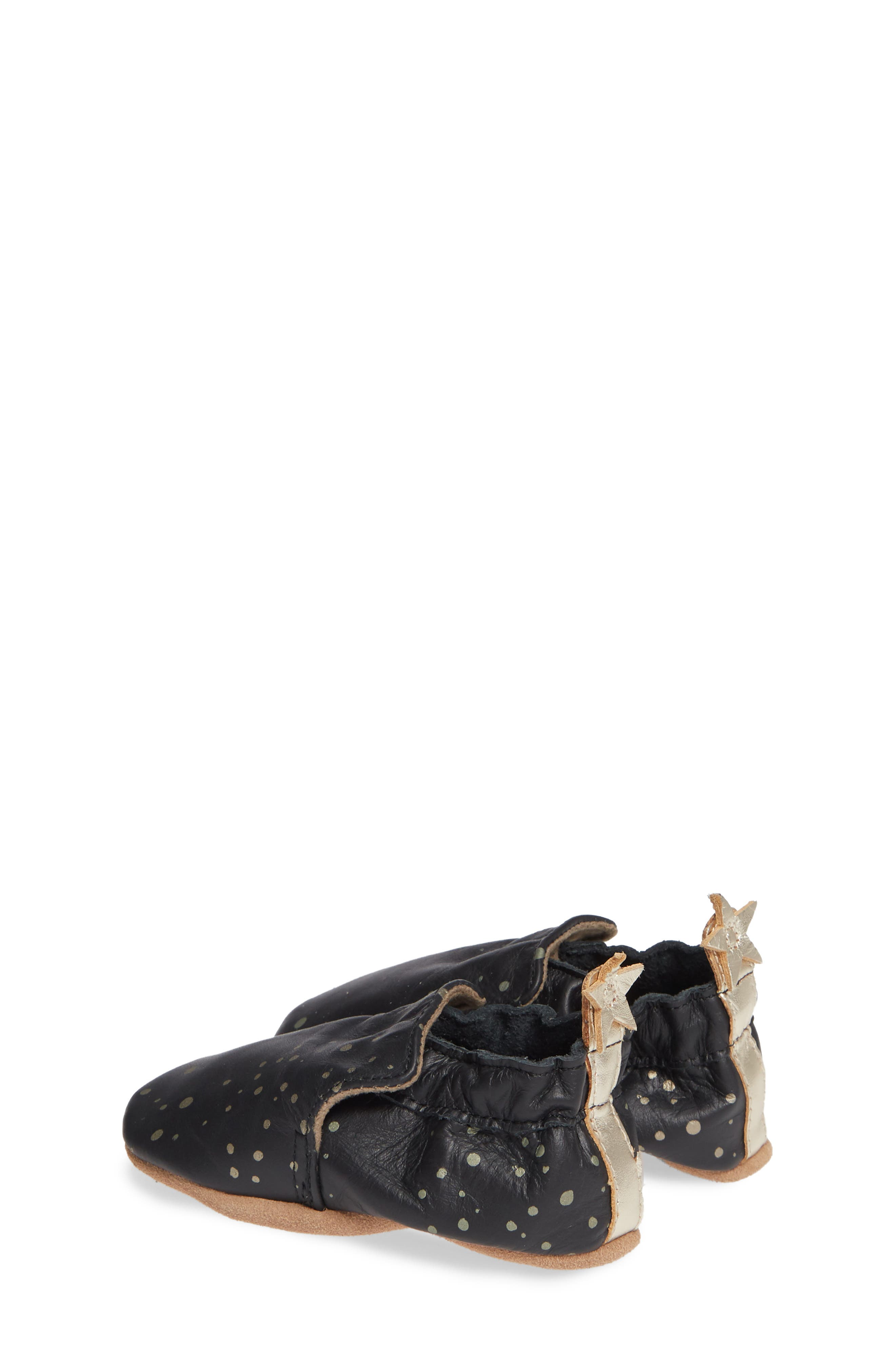 ROBEEZ<SUP>®</SUP>, Galaxy Girl Moccasin Crib Shoe, Alternate thumbnail 3, color, BLACK