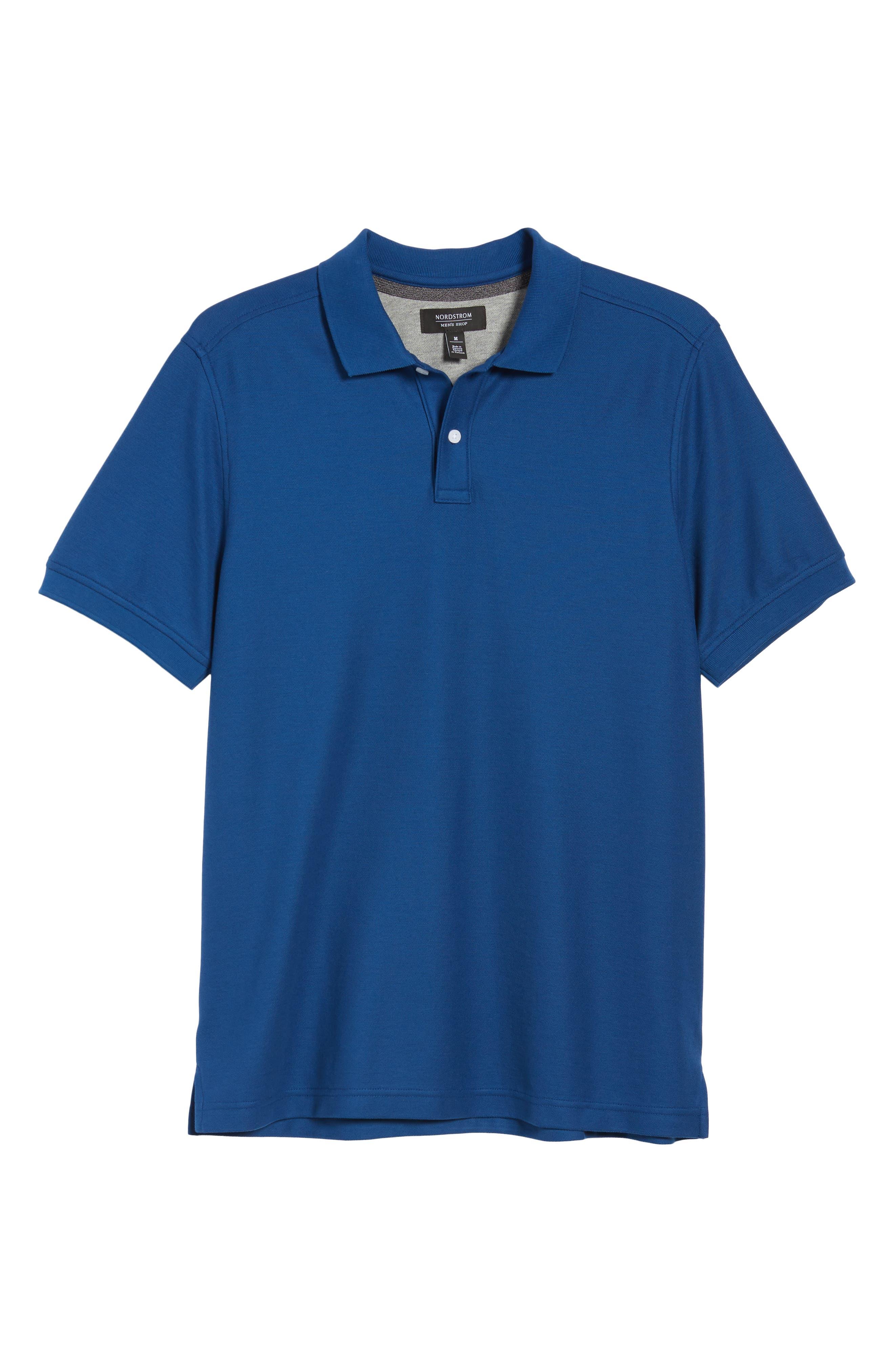 NORDSTROM MEN'S SHOP, Regular Fit Piqué Polo, Alternate thumbnail 6, color, BLUE CASPIA
