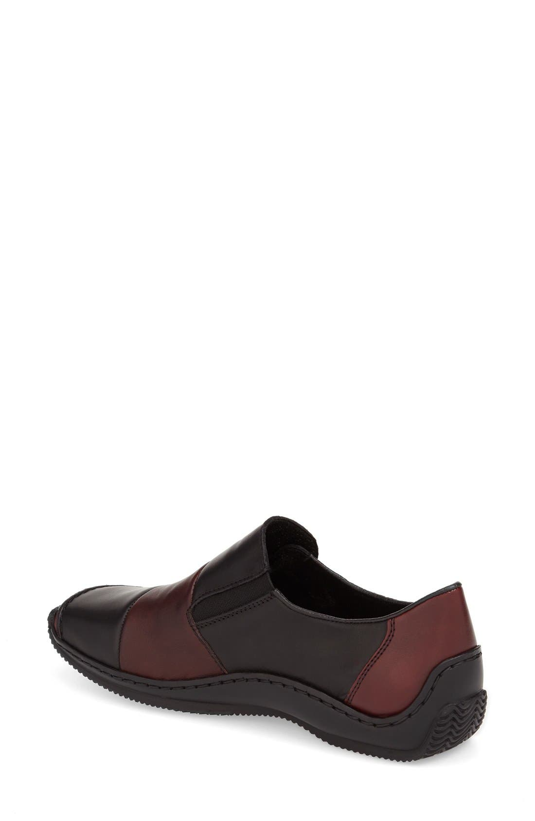 RIEKER ANTISTRESS, 'Celia 62' Loafer, Alternate thumbnail 2, color, BLACK LEATHER