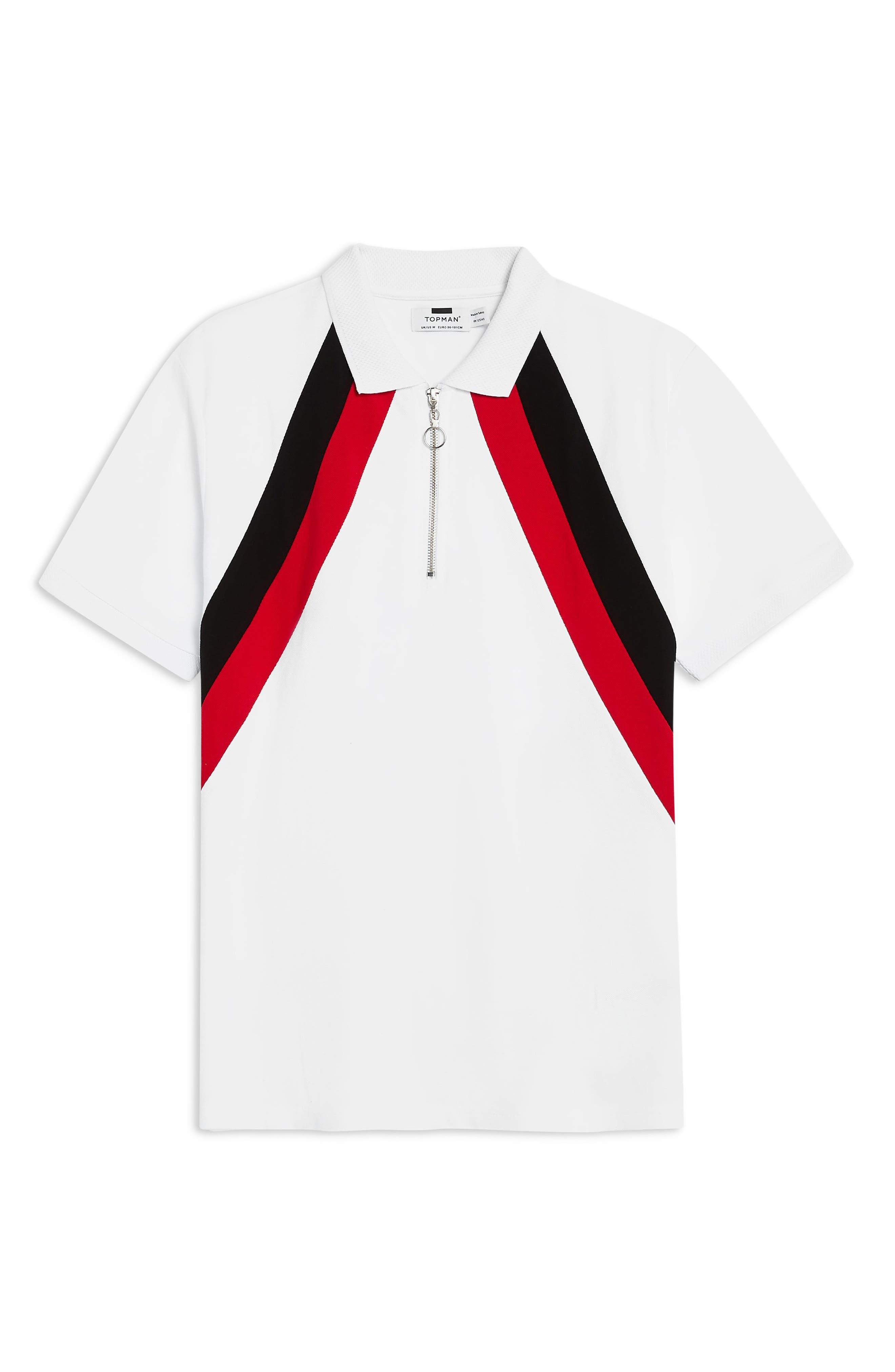 TOPMAN, Stripe Zip Polo, Alternate thumbnail 4, color, WHITE