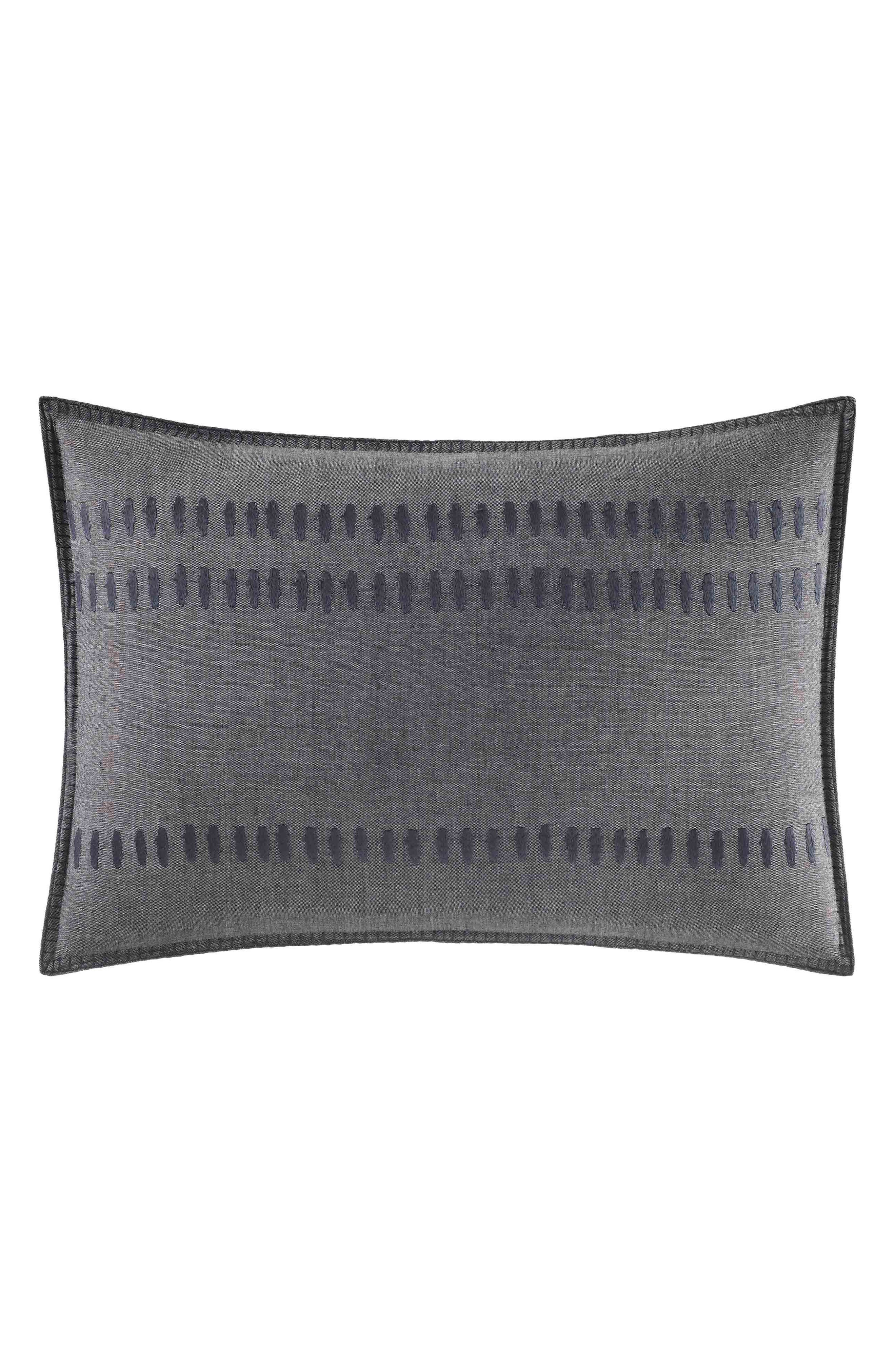 ED ELLEN DEGENERES Nomad Stitched Accent Pillow, Main, color, DARK GREY