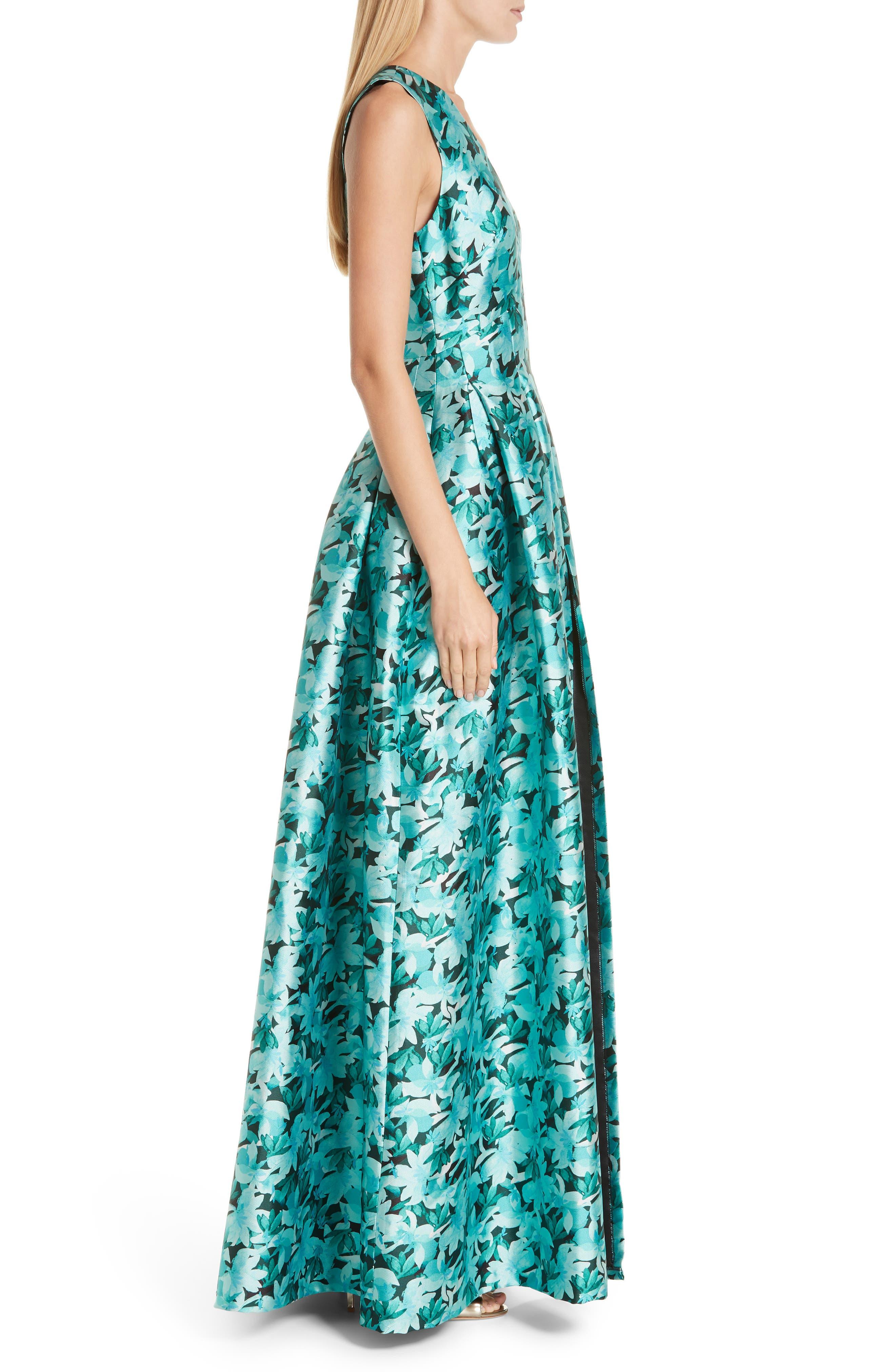 SACHIN & BABI, Brooke Floral Print Gown, Alternate thumbnail 4, color, TEAL