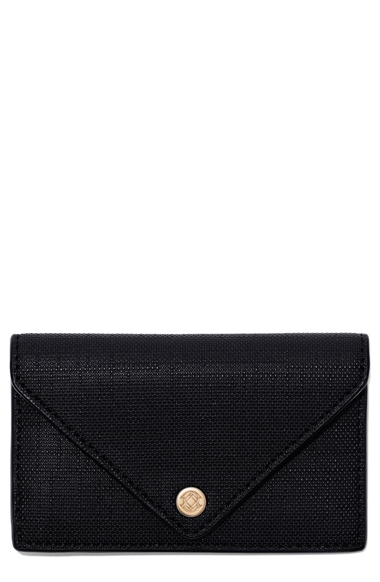 DAGNE DOVER Coated Canvas Card Case, Main, color, ONYX