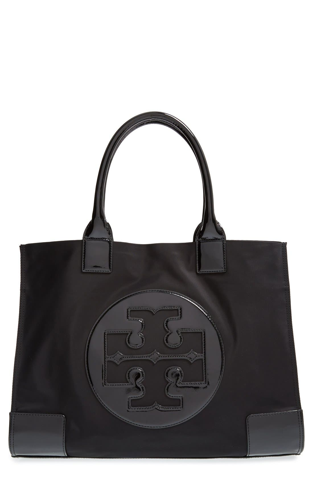 TORY BURCH, 'Ella' Nylon Tote, Main thumbnail 1, color, 001