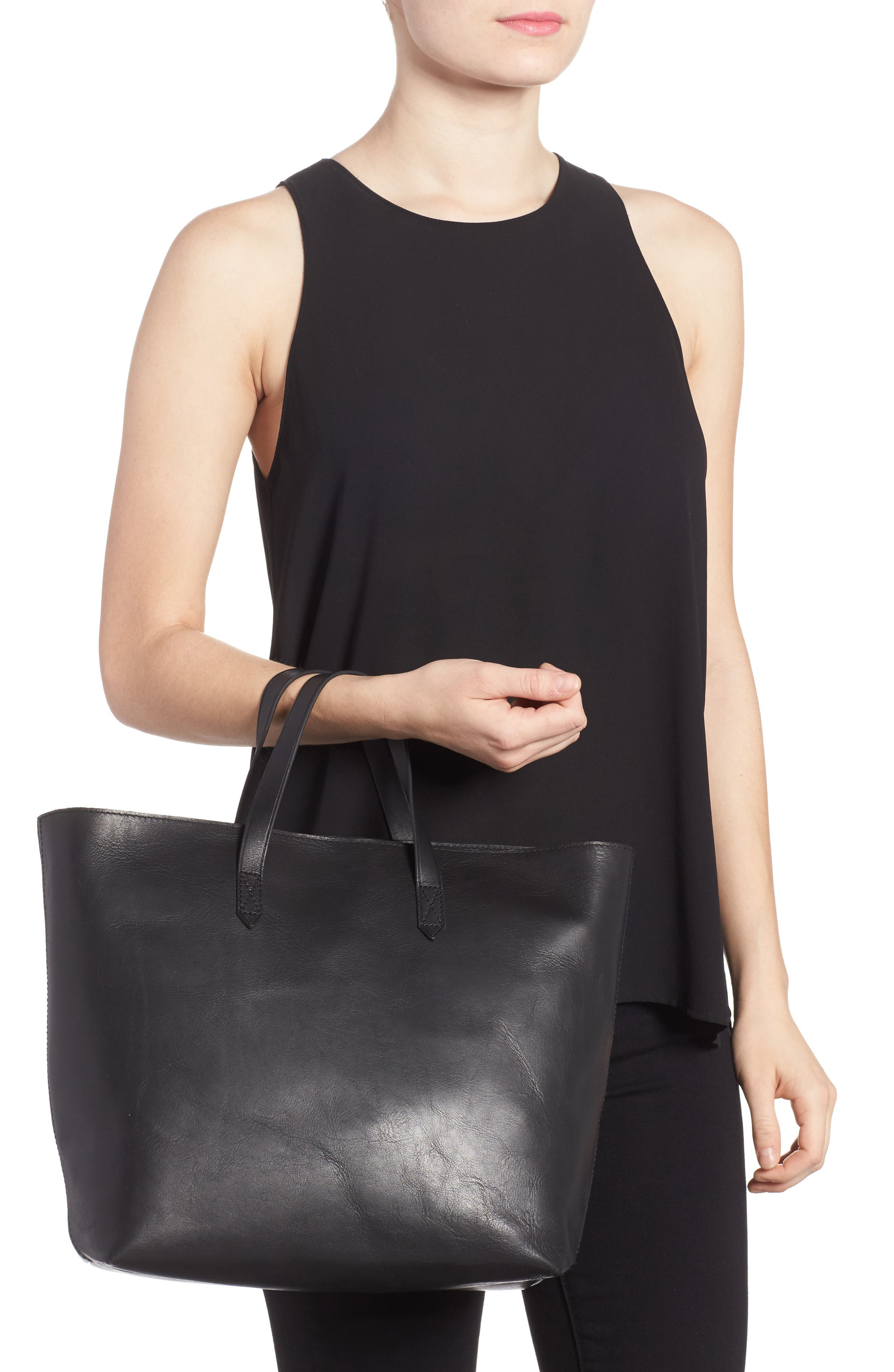 MADEWELL, Zip Top Transport Leather Carryall, Alternate thumbnail 2, color, TRUE BLACK