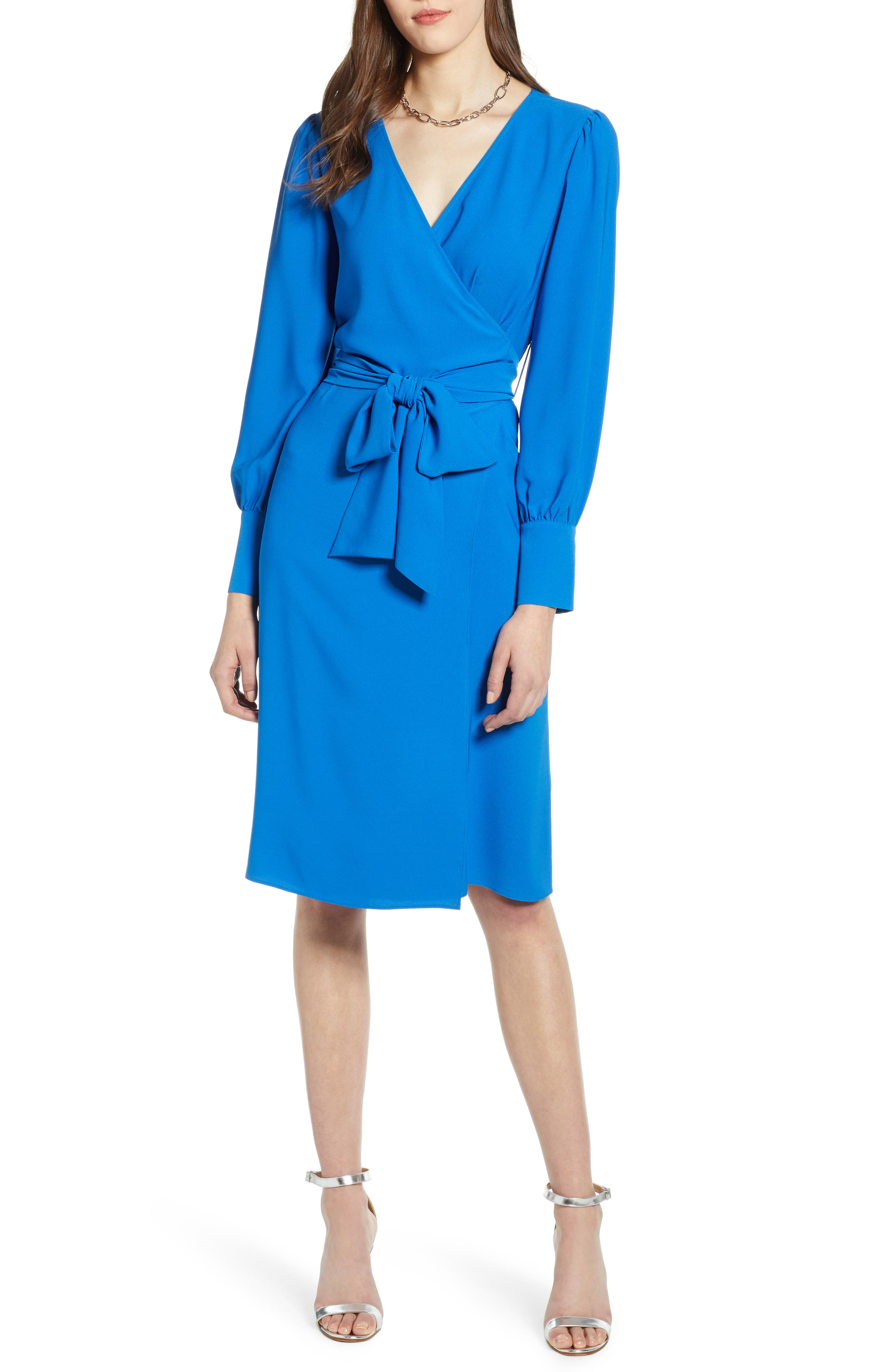 HALOGEN<SUP>®</SUP>, Wrap Dress, Alternate thumbnail 6, color, BLUE VICTORIA