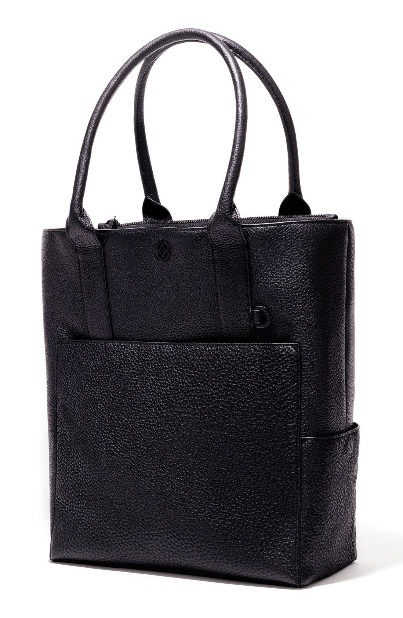 DAGNE DOVER, Charlie Leather Tote, Alternate thumbnail 5, color, ONYX