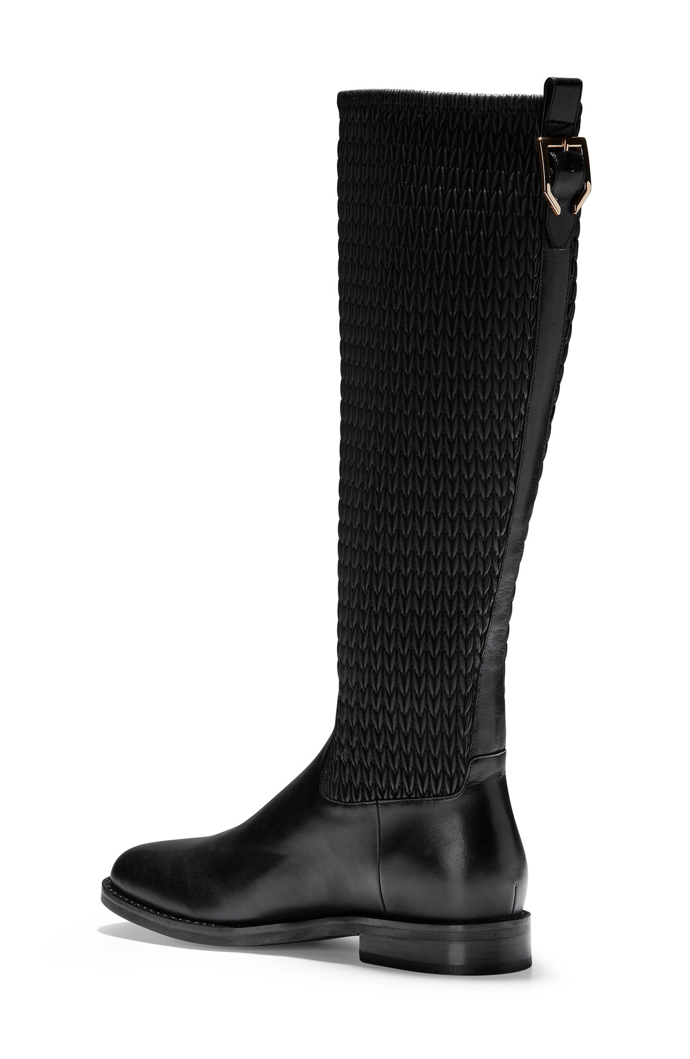 COLE HAAN, Lexi Grand Knee High Stretch Boot, Alternate thumbnail 2, color, BLACK LEATHER