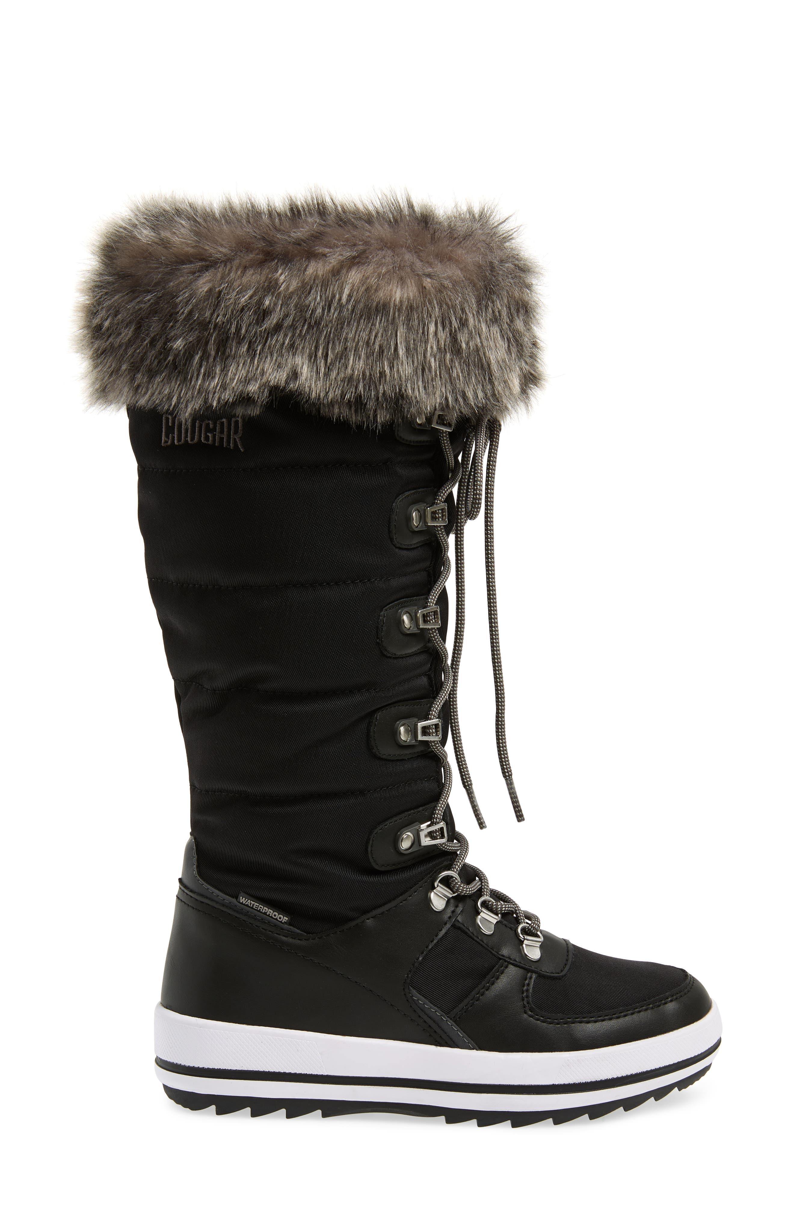 COUGAR, Vesta Faux Fur Collar Knee High Snow Boot, Alternate thumbnail 3, color, BLACK FABRIC