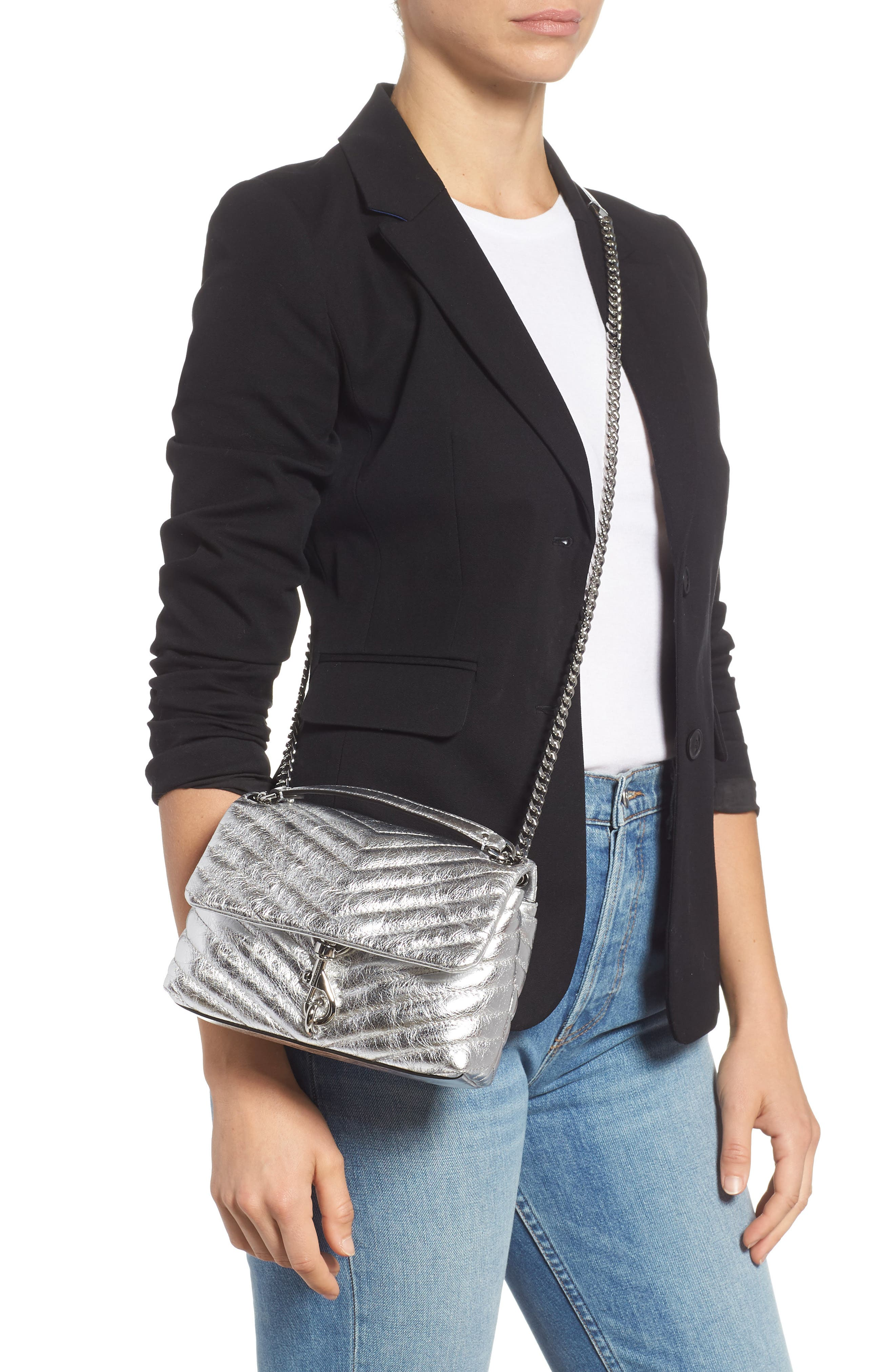 REBECCA MINKOFF, Edie Metallic Leather Shoulder Bag, Alternate thumbnail 2, color, SILVER