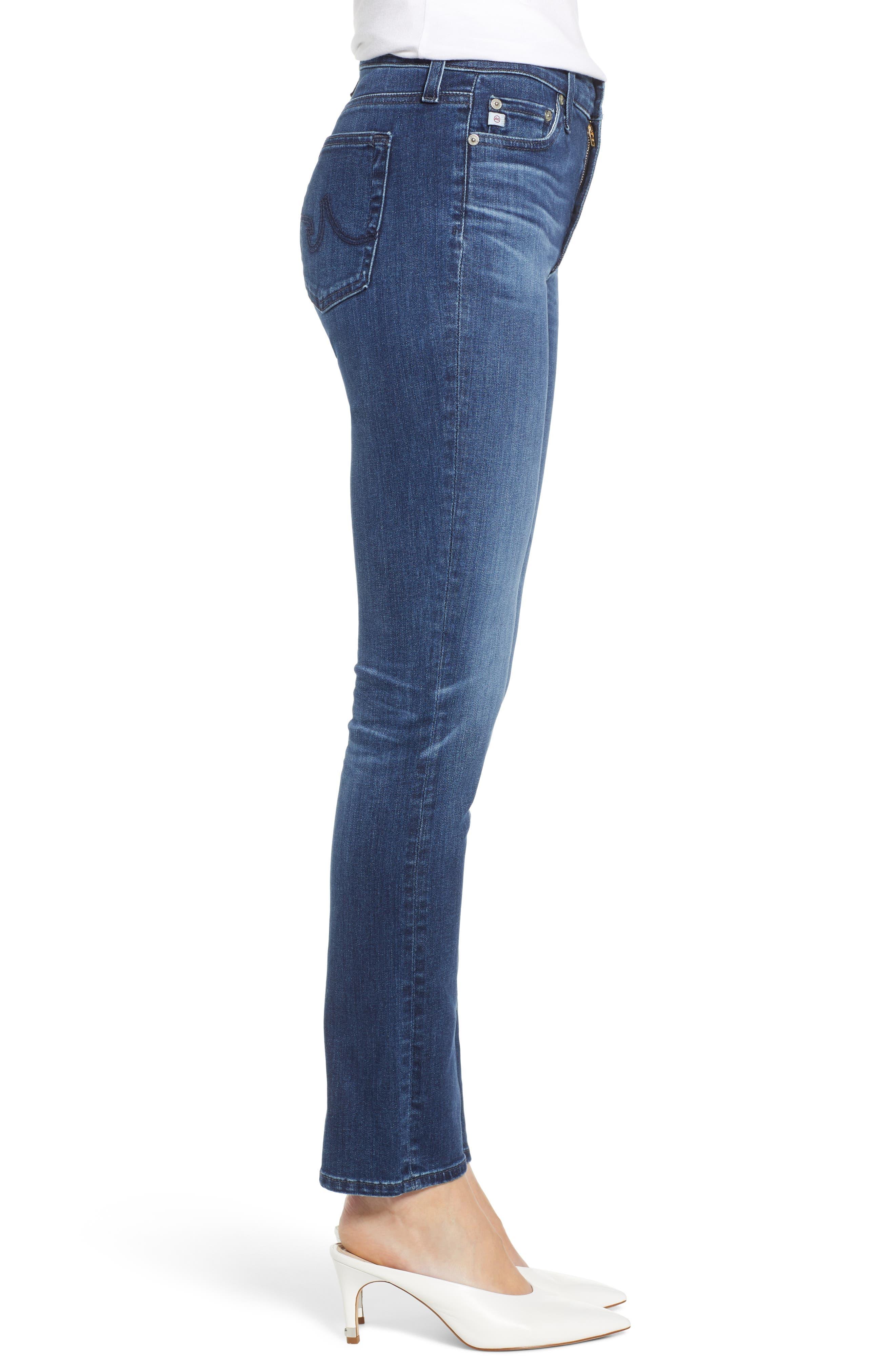 AG, Mari High Waist Slim Straight Leg Jeans, Alternate thumbnail 4, color, 05 YEAR BLUE ESSENCE