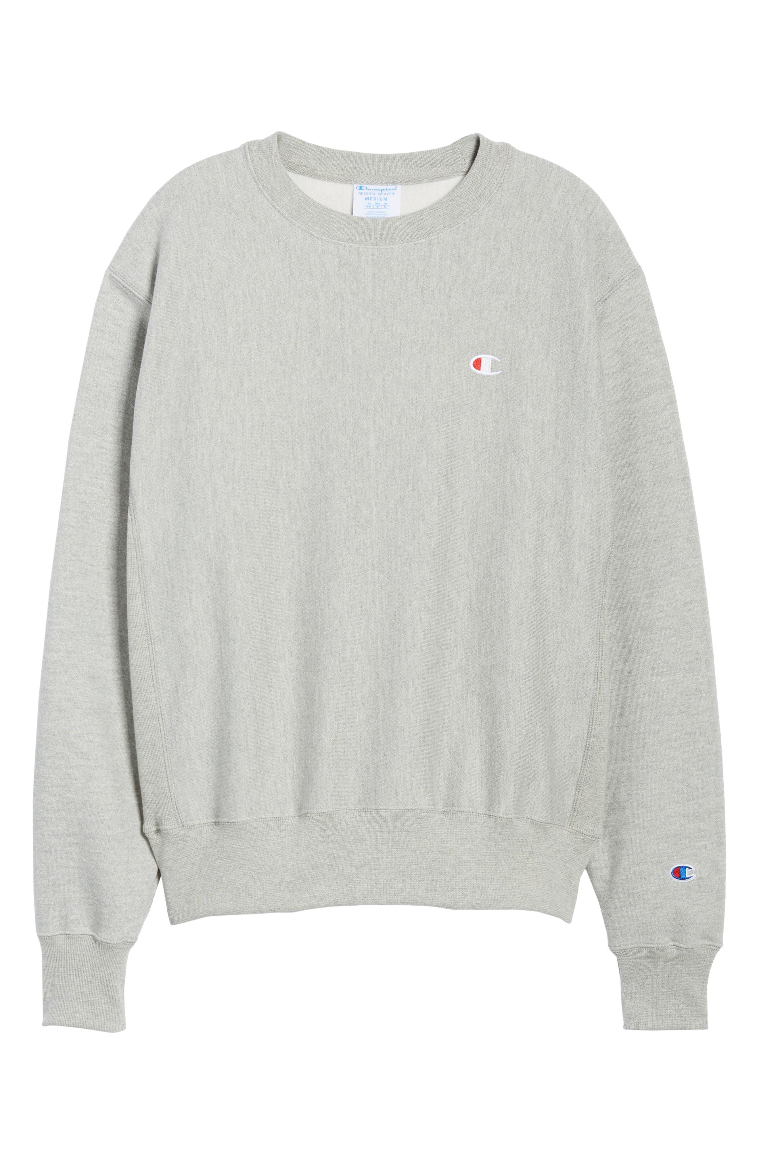 CHAMPION, Reverse Weave Sweatshirt, Alternate thumbnail 6, color, OXFORD GRAY