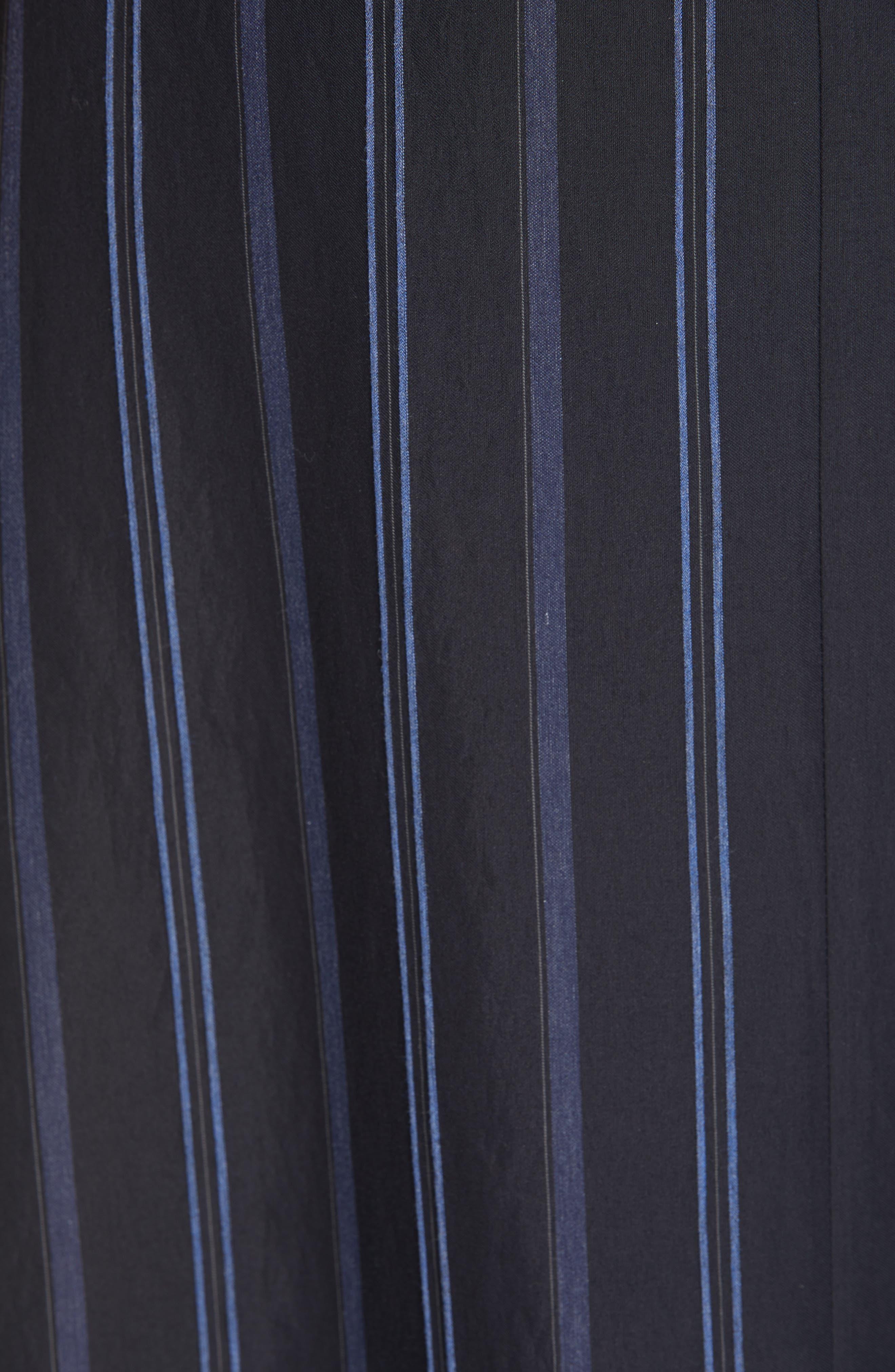 VINCE, Dobby Stripe Belted Skirt, Alternate thumbnail 5, color, INDIGO