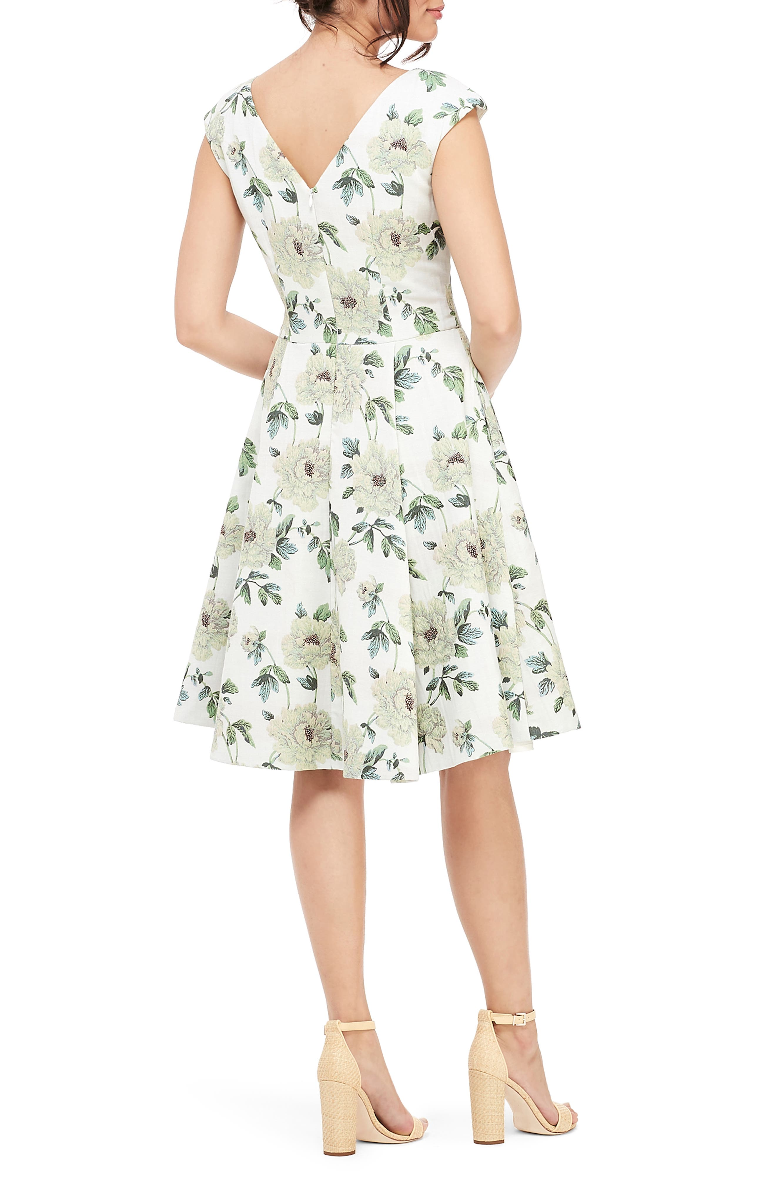 GAL MEETS GLAM COLLECTION, Lilly Button Detail Fit & Flare Dress, Alternate thumbnail 2, color, GREEN MULTI