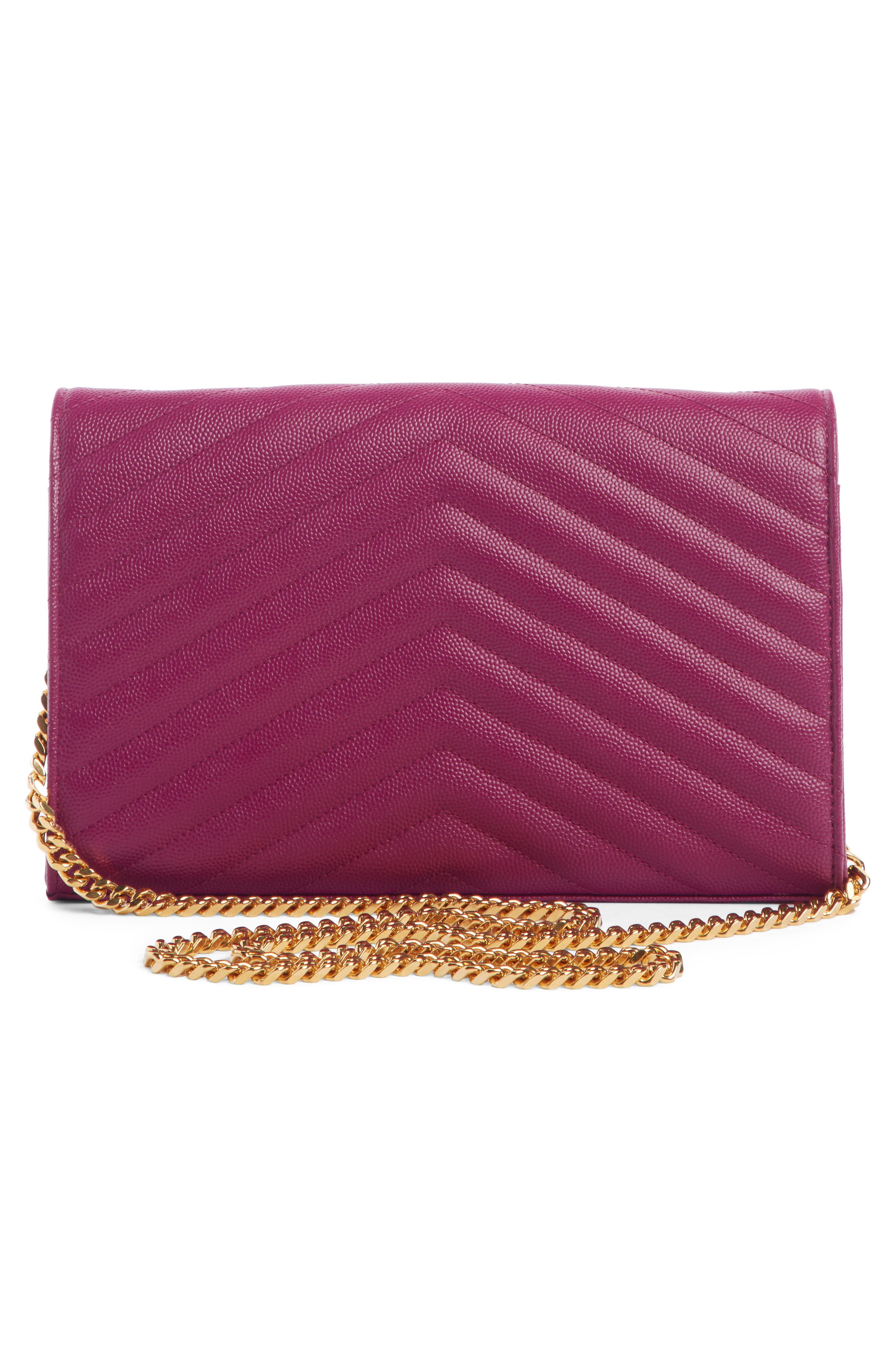 SAINT LAURENT, Large Monogram Quilted Leather Wallet on a Chain, Alternate thumbnail 2, color, DARK GRAPE