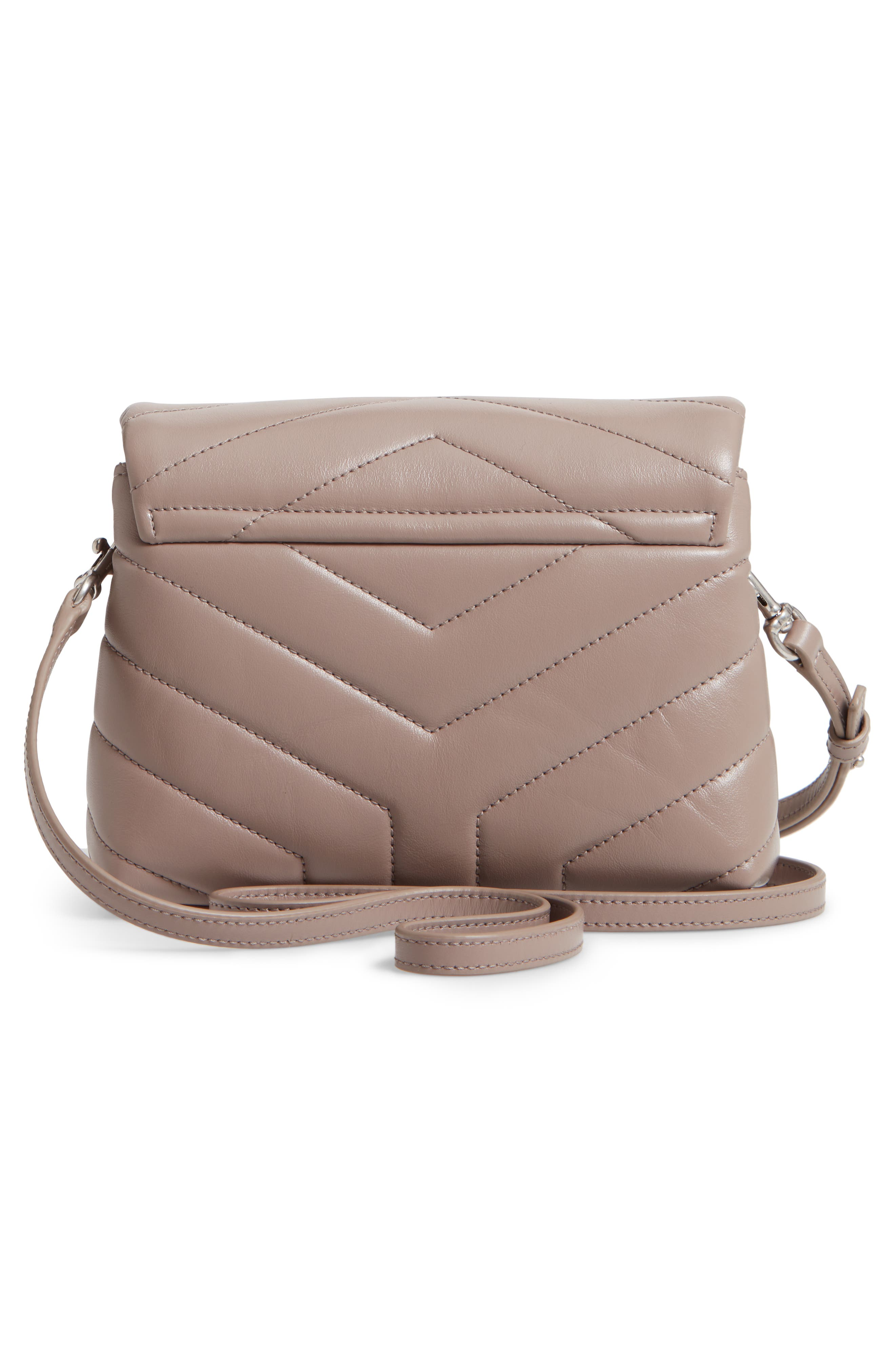 SAINT LAURENT, Toy Loulou Calfskin Leather Crossbody Bag, Alternate thumbnail 3, color, MINK