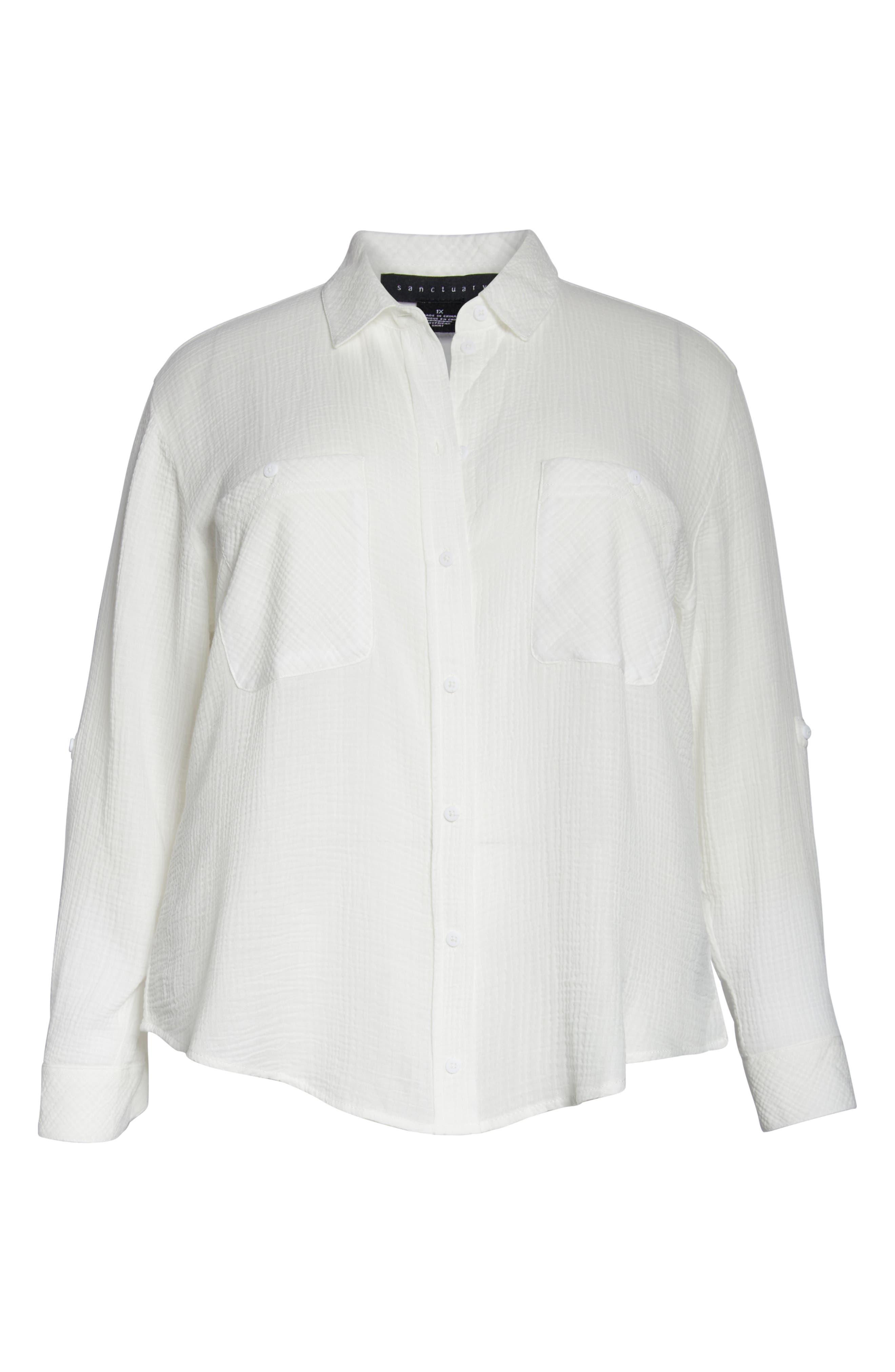 SANCTUARY, Steady Boyfriend Shirt, Alternate thumbnail 3, color, WHITE