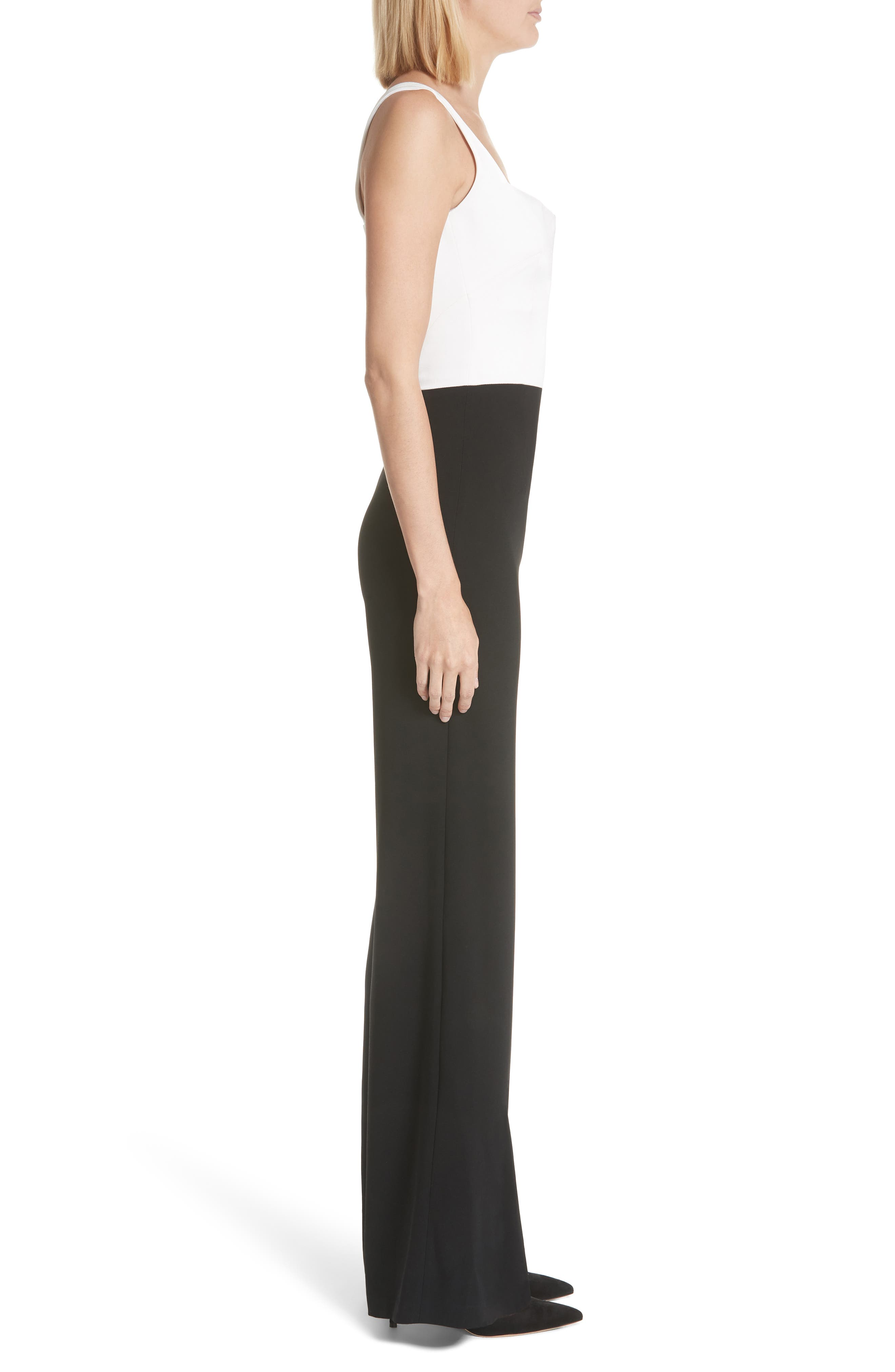 GALVAN, Eclipse Satin & Matte Crepe Jumpsuit, Alternate thumbnail 4, color, WHITE/ BLACK