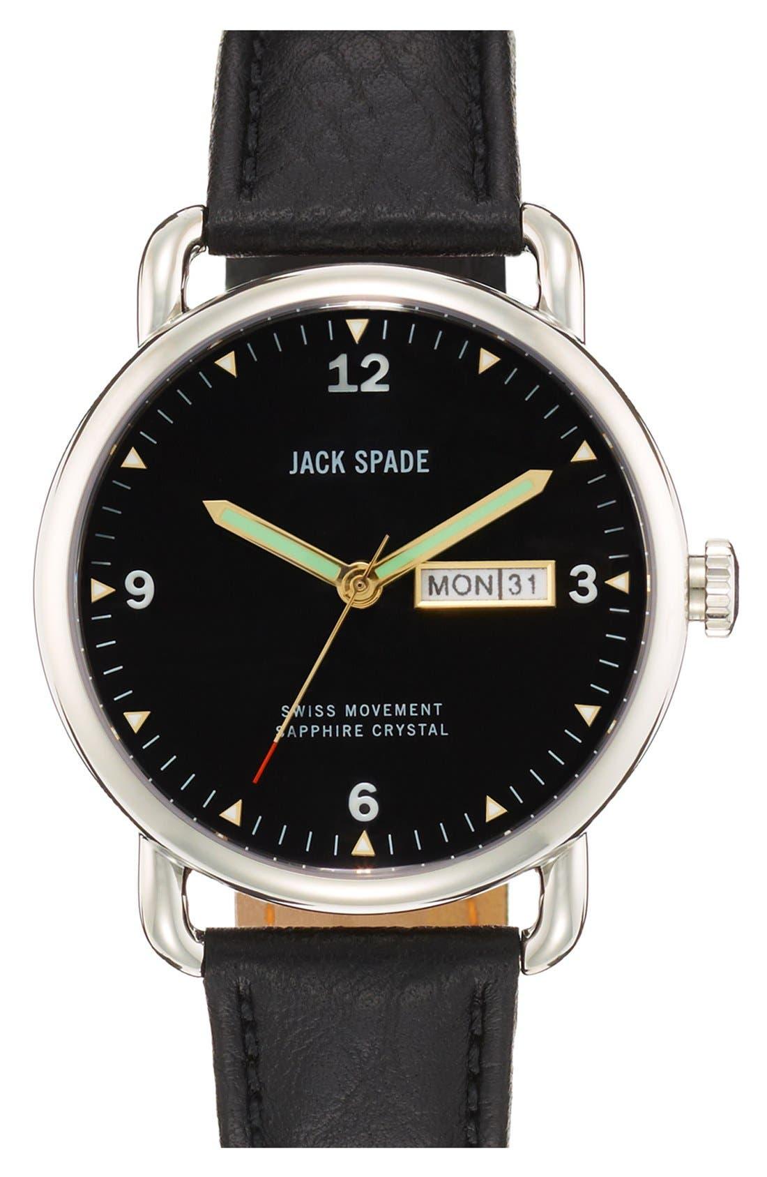 JACK SPADE, 'Buckner' Leather Strap Watch, 42mm, Main thumbnail 1, color, 001