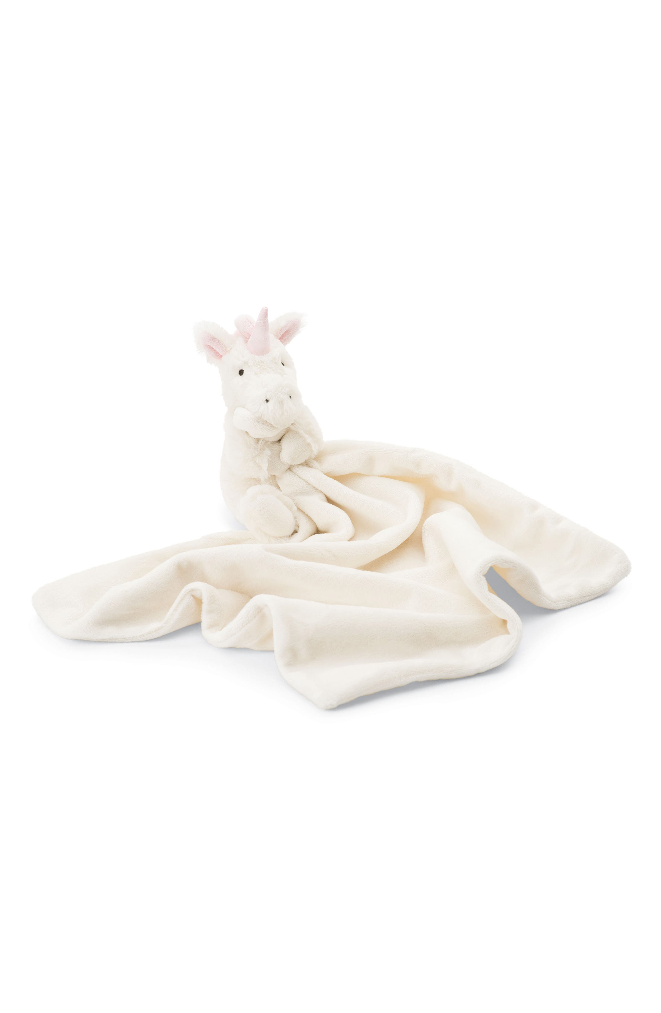 JELLYCAT, Bashful Unicorn Soother Blanket, Main thumbnail 1, color, WHITE