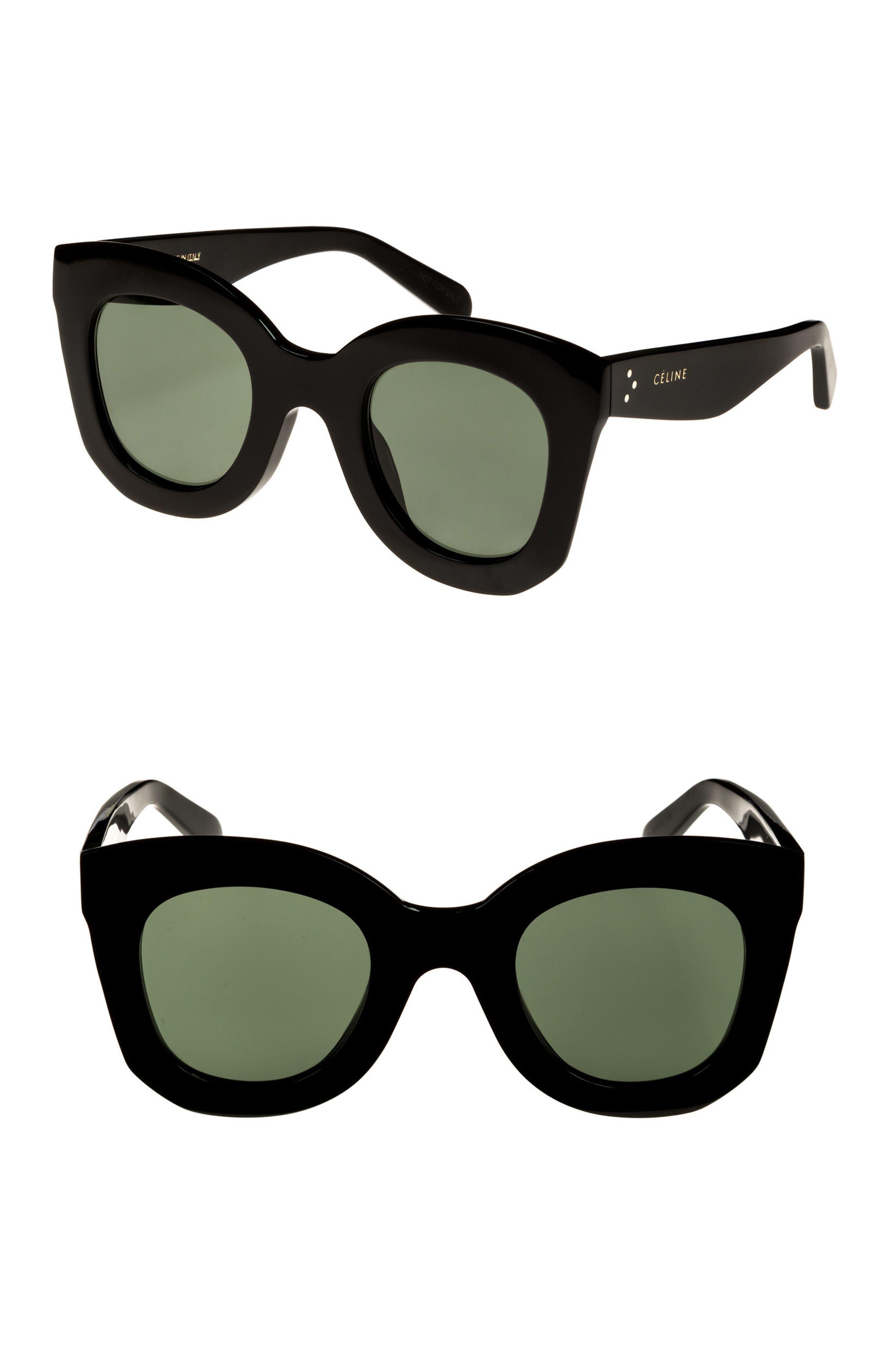 CELINE Special Fit 49mm Cat Eye Sunglasses, Main, color, BLACK/ GREEN