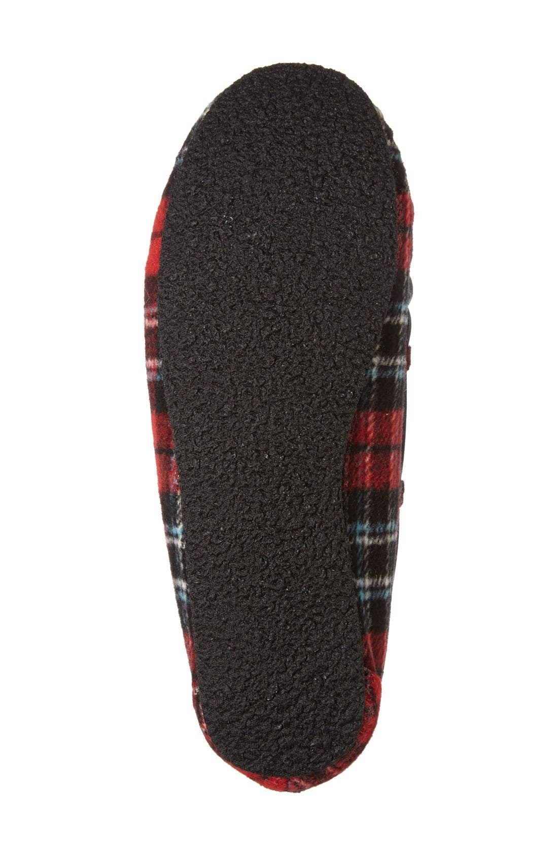 MINNETONKA, Cally Plaid Faux Fur Lined Slipper, Alternate thumbnail 4, color, RED