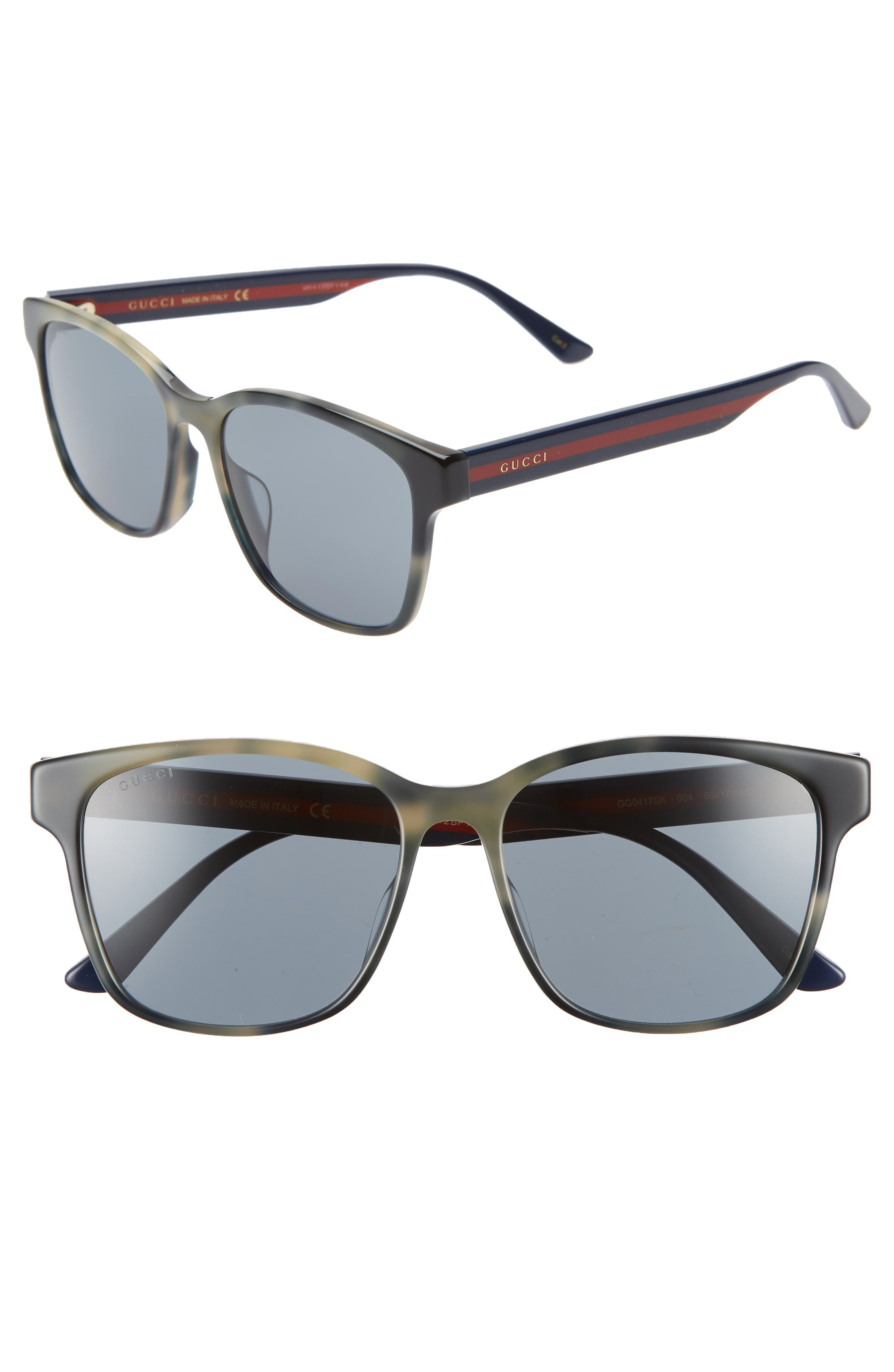 GUCCI, 56mm Square Sunglasses, Main thumbnail 1, color, GREY HAVANA