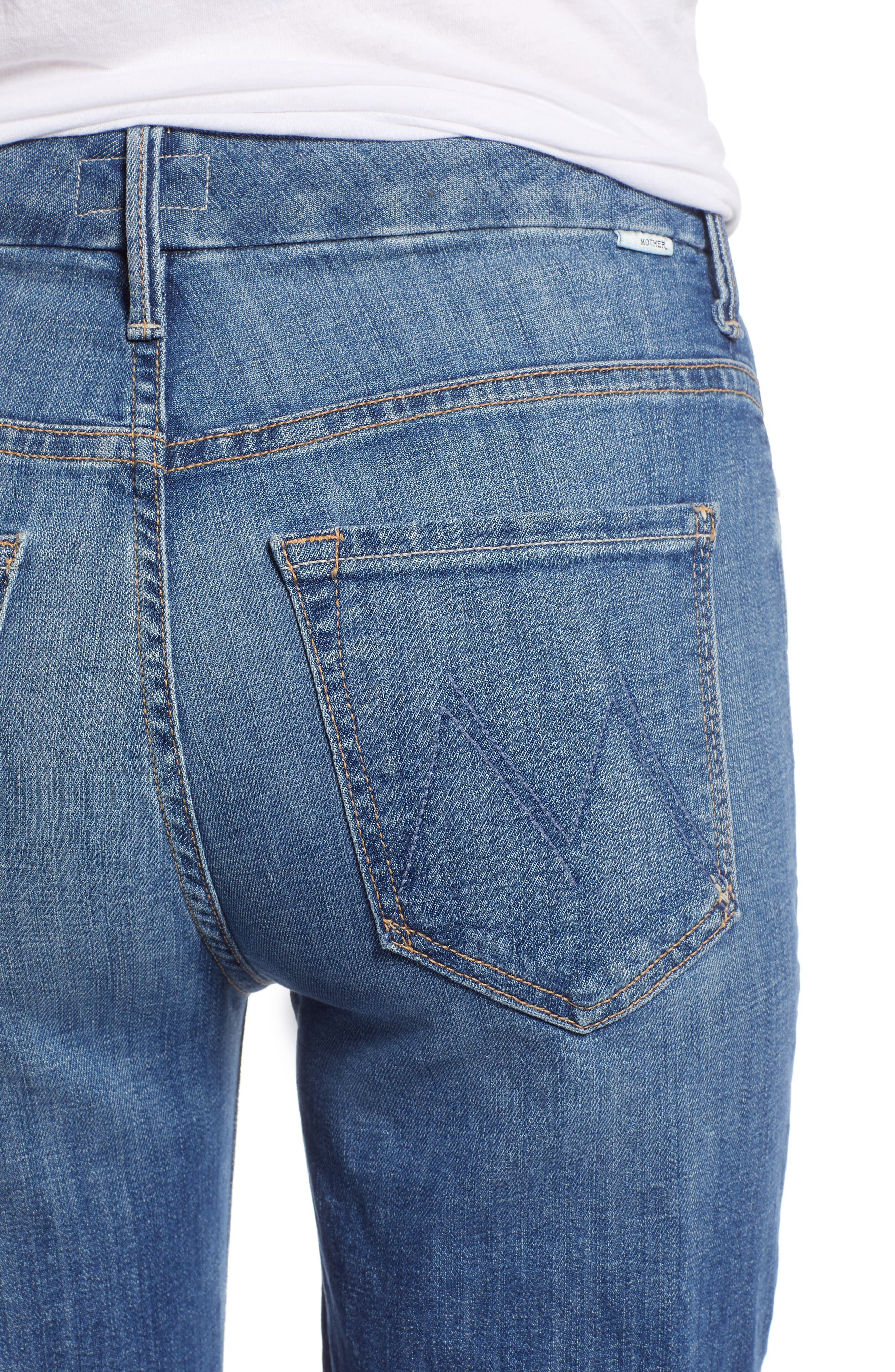 MOTHER, The Looker Frayed Ankle Jeans, Alternate thumbnail 5, color, ONE SMART COOKIE