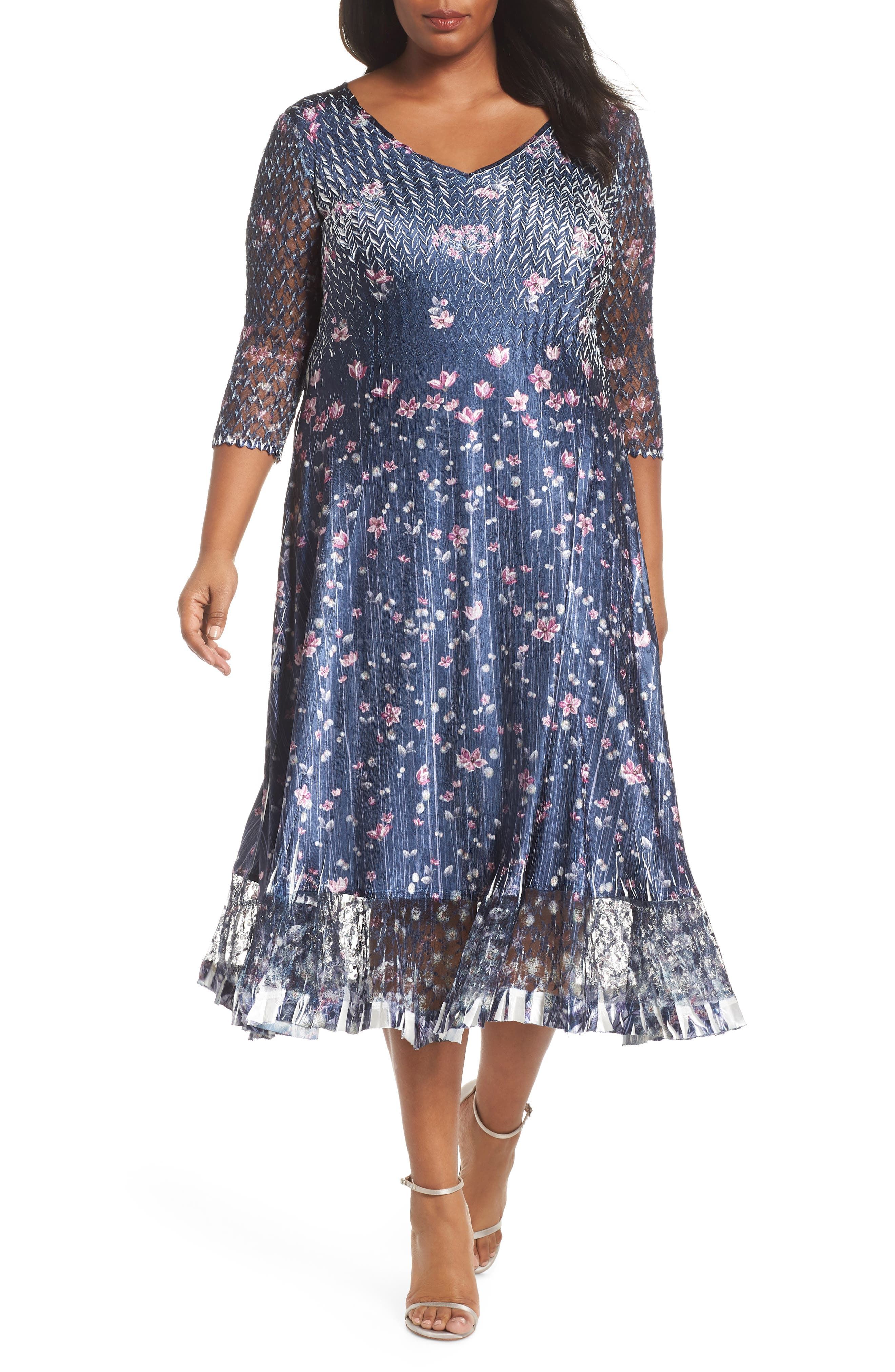 Plus Size Komarov Lace Sleeve Charmeuse Midi Dress, Blue