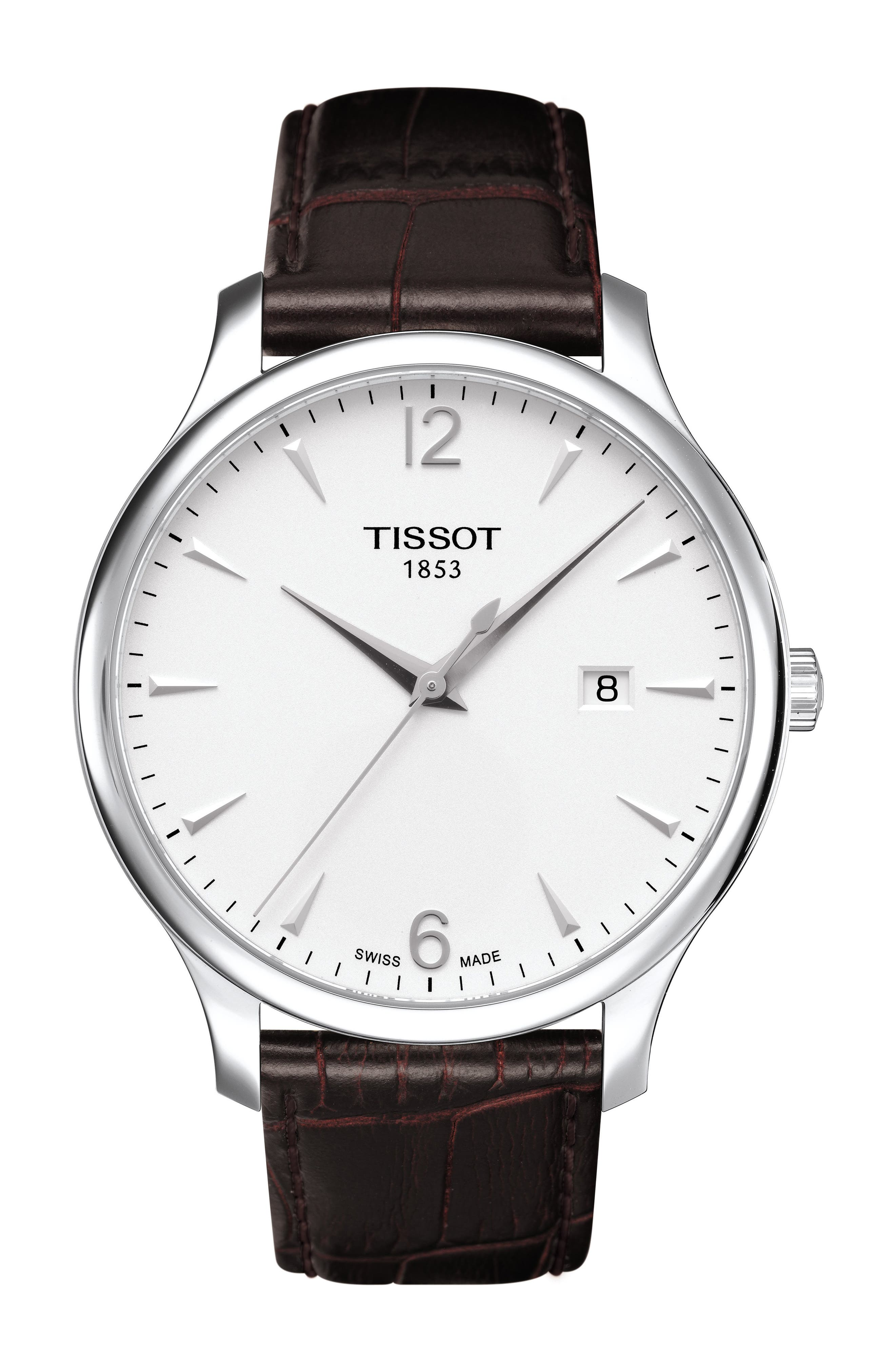 TISSOT, Tradition Leather Strap Watch, 42mm, Main thumbnail 1, color, BROWN/ SILVER