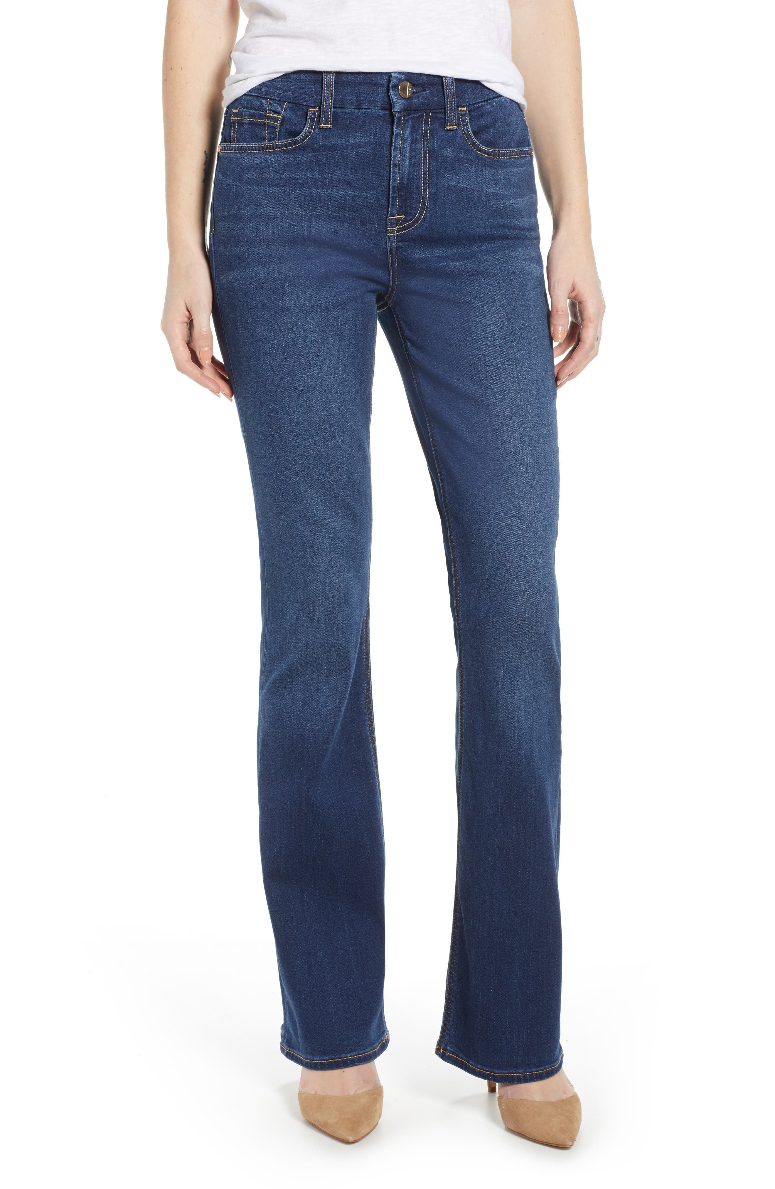 JEN7 BY 7 FOR ALL MANKIND, Slim Bootcut Jeans, Main thumbnail 1, color, CLASSIC MEDIUM BLUE