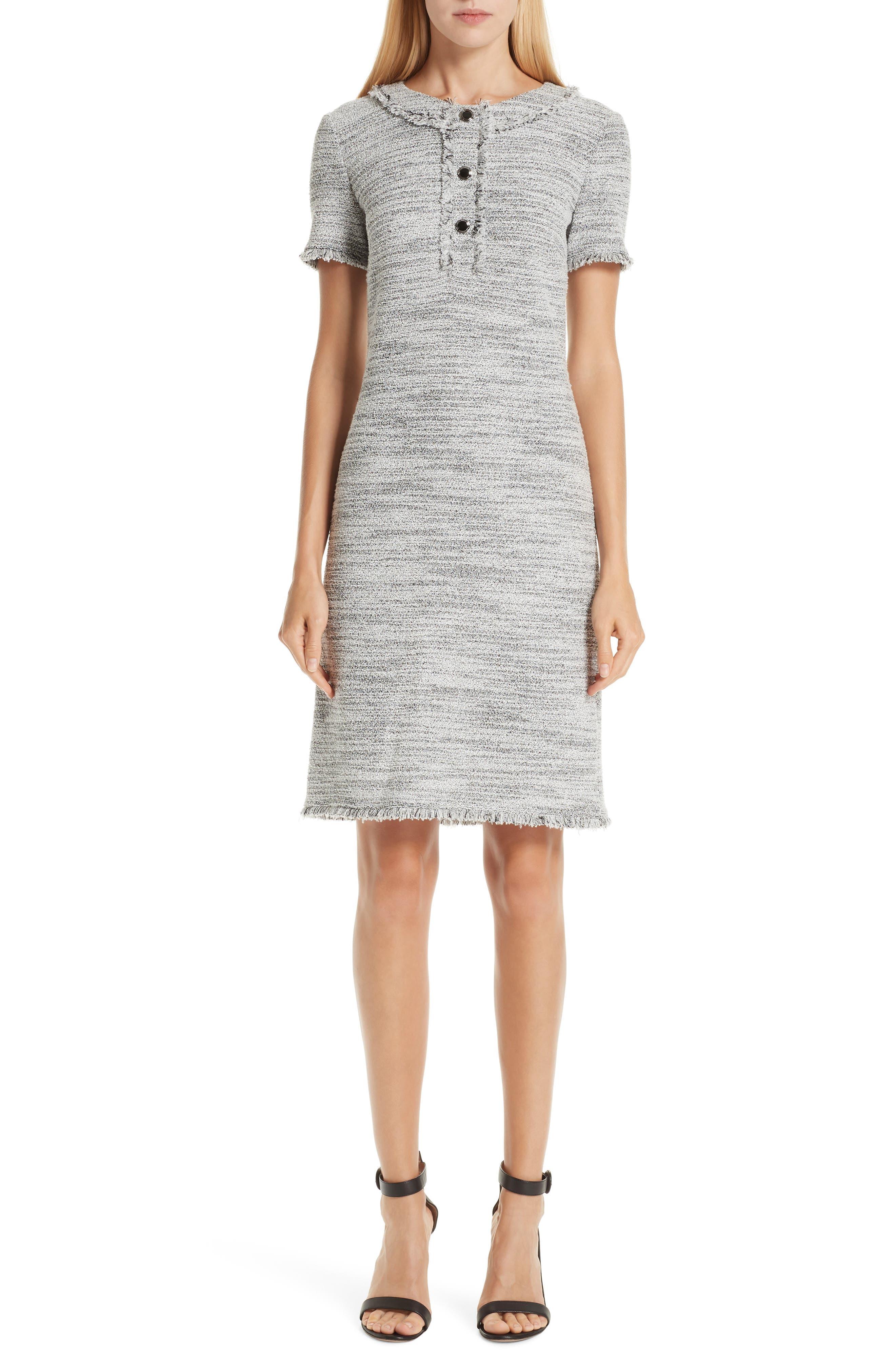 ST. JOHN COLLECTION, Eaton Place Tweed Knit Dress, Main thumbnail 1, color, CAVIAR/ CREAM